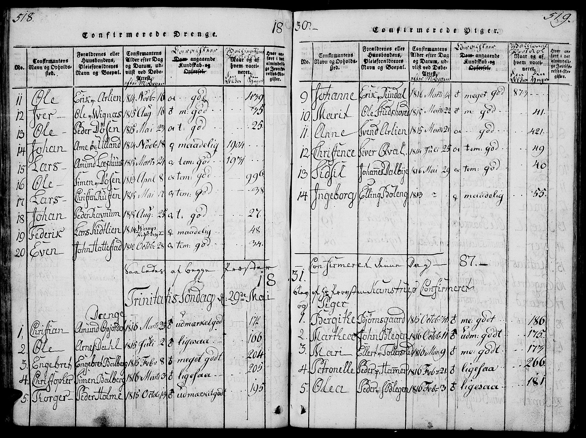 SAH, Fåberg prestekontor, Klokkerbok nr. 4, 1818-1837, s. 518-519