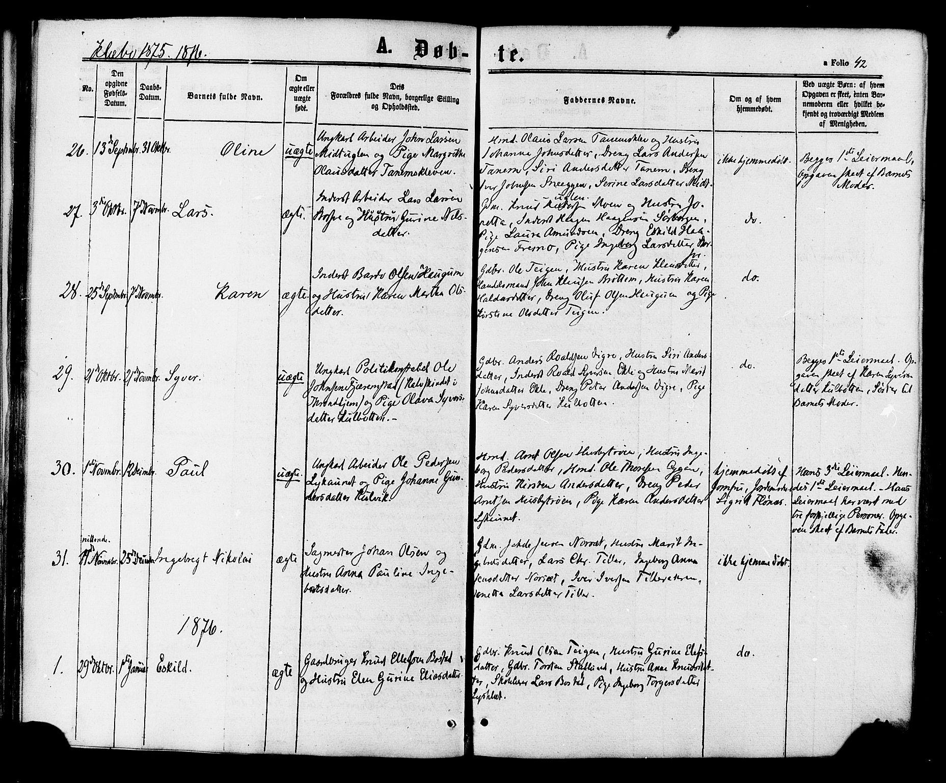 SAT, Ministerialprotokoller, klokkerbøker og fødselsregistre - Sør-Trøndelag, 618/L0442: Ministerialbok nr. 618A06 /1, 1863-1879, s. 42