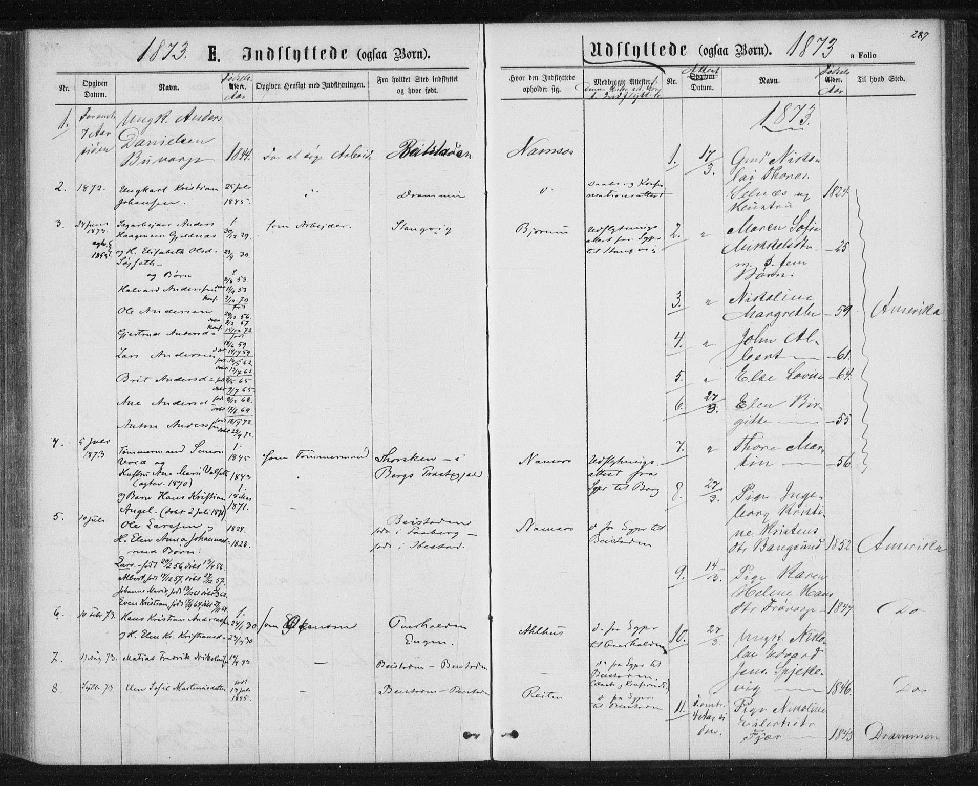 SAT, Ministerialprotokoller, klokkerbøker og fødselsregistre - Nord-Trøndelag, 768/L0570: Ministerialbok nr. 768A05, 1865-1874, s. 287