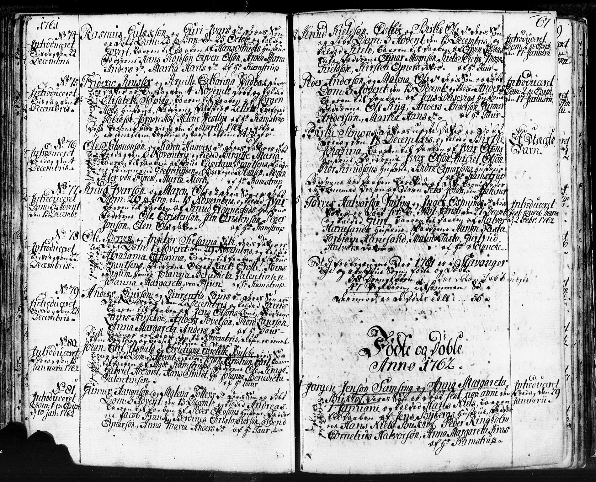 SAST, Domkirken sokneprestkontor, 30/30BB/L0004: Klokkerbok nr. B 4, 1752-1790, s. 67