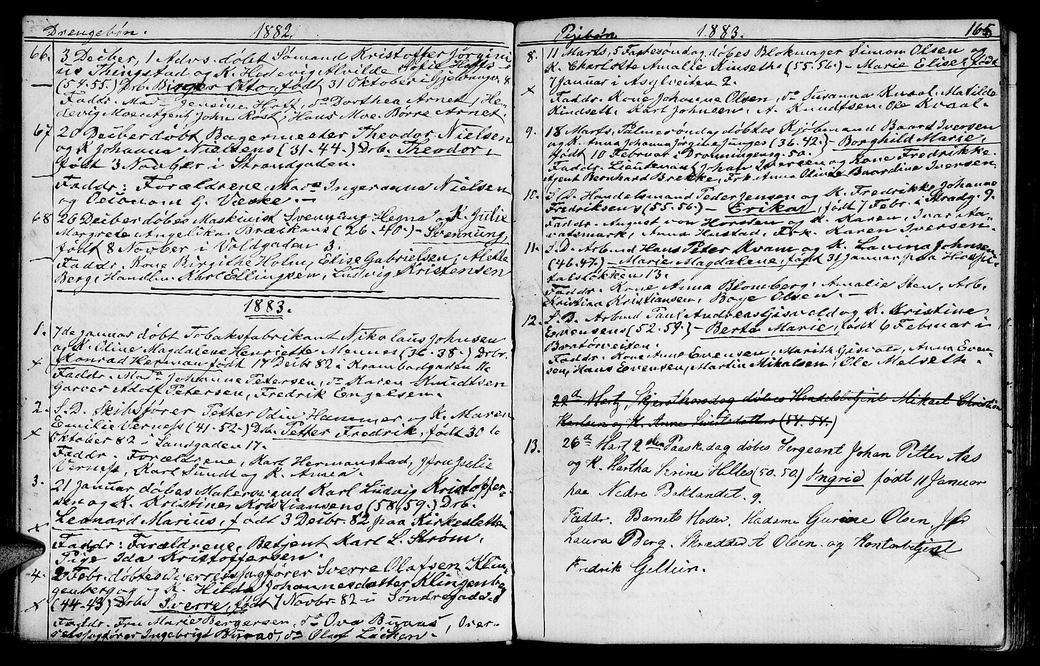 SAT, Ministerialprotokoller, klokkerbøker og fødselsregistre - Sør-Trøndelag, 602/L0142: Klokkerbok nr. 602C10, 1872-1894, s. 165