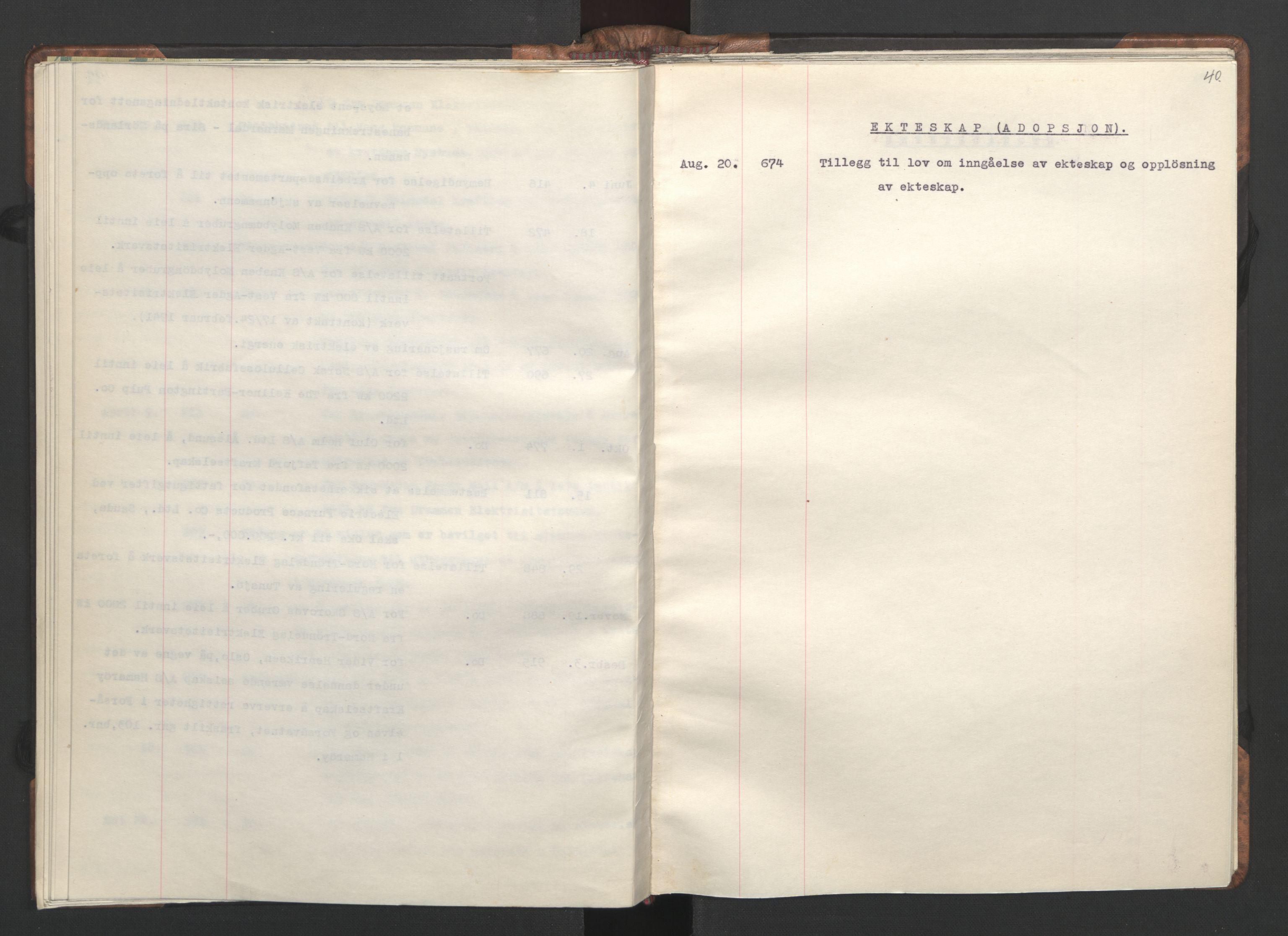 RA, NS-administrasjonen 1940-1945 (Statsrådsekretariatet, de kommisariske statsråder mm), D/Da/L0002: Register (RA j.nr. 985/1943, tilgangsnr. 17/1943), 1942, s. 39b-40a