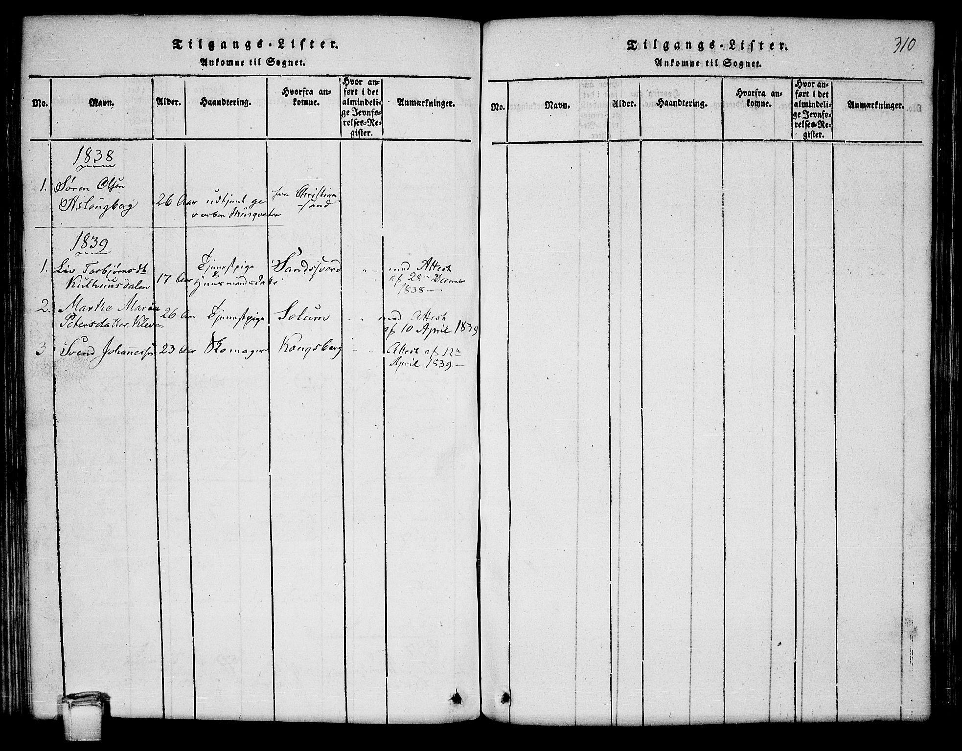 SAKO, Hjartdal kirkebøker, G/Ga/L0001: Klokkerbok nr. I 1, 1815-1842, s. 310