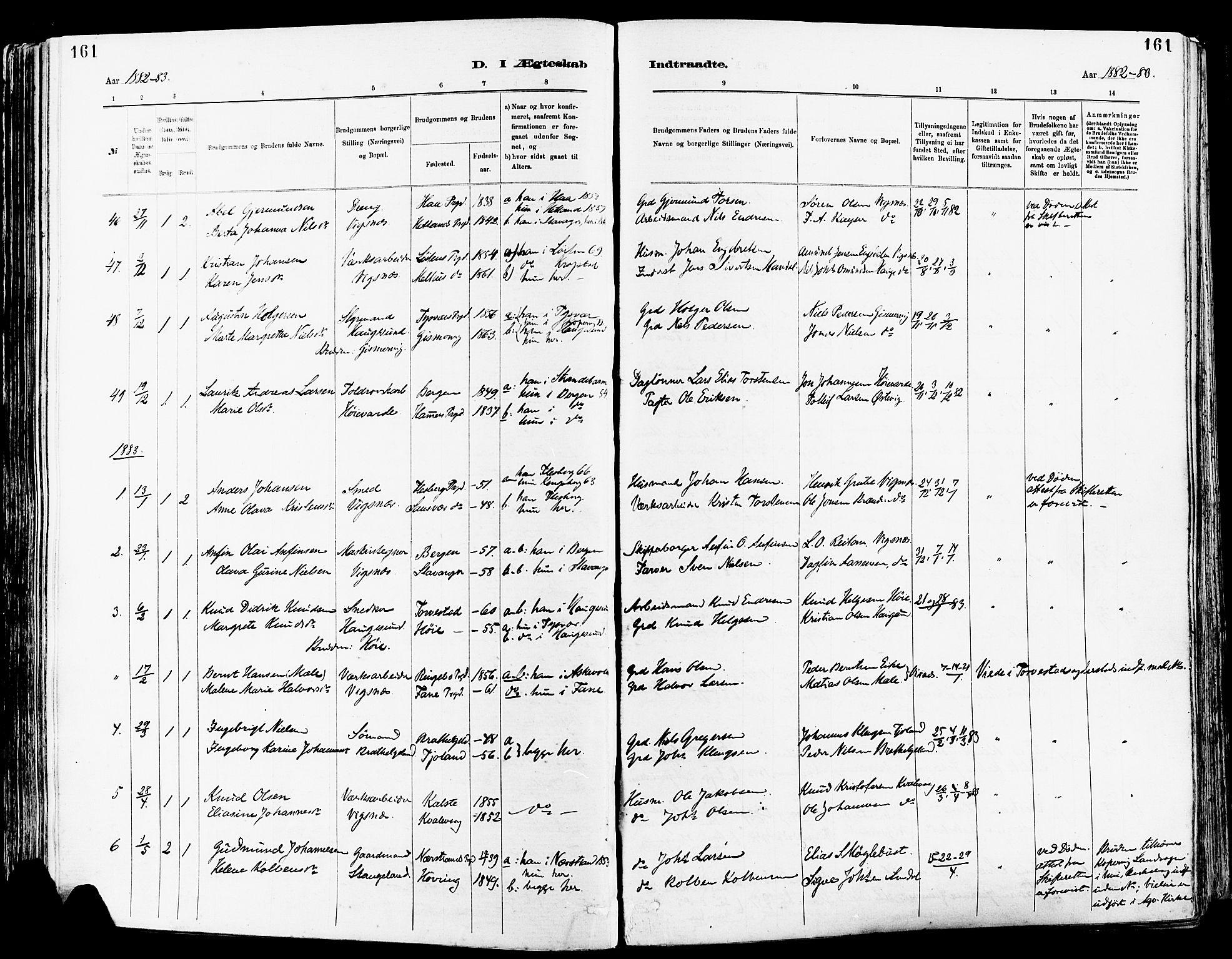 SAST, Avaldsnes sokneprestkontor, H/Ha/Haa/L0015: Ministerialbok nr. A 15, 1880-1906, s. 161