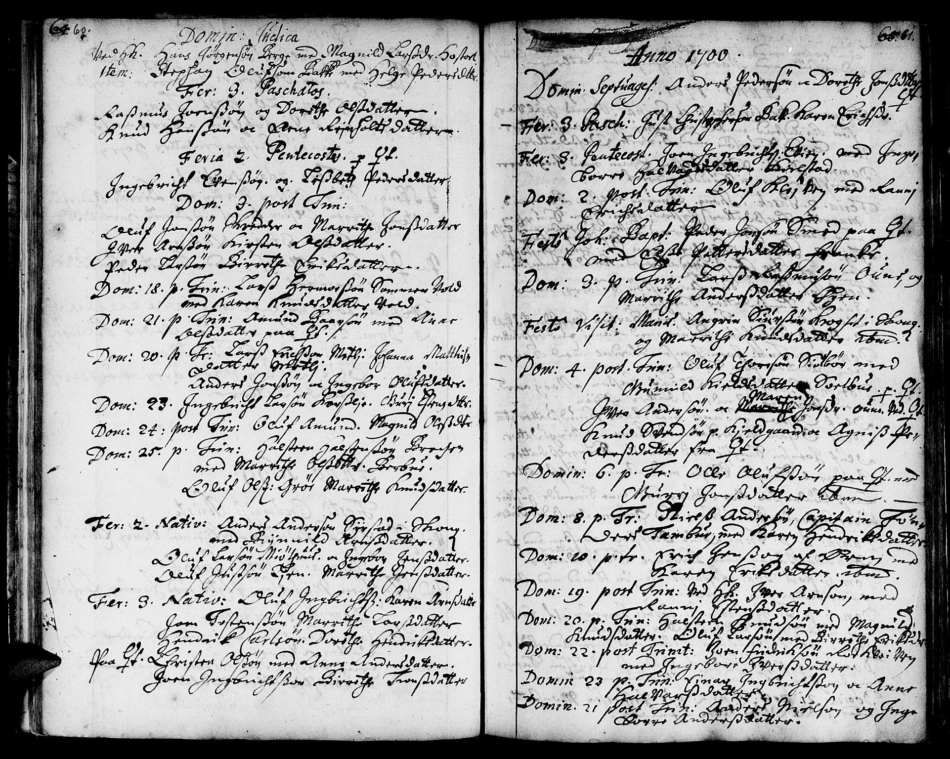 SAT, Ministerialprotokoller, klokkerbøker og fødselsregistre - Sør-Trøndelag, 668/L0801: Ministerialbok nr. 668A01, 1695-1716, s. 60-61