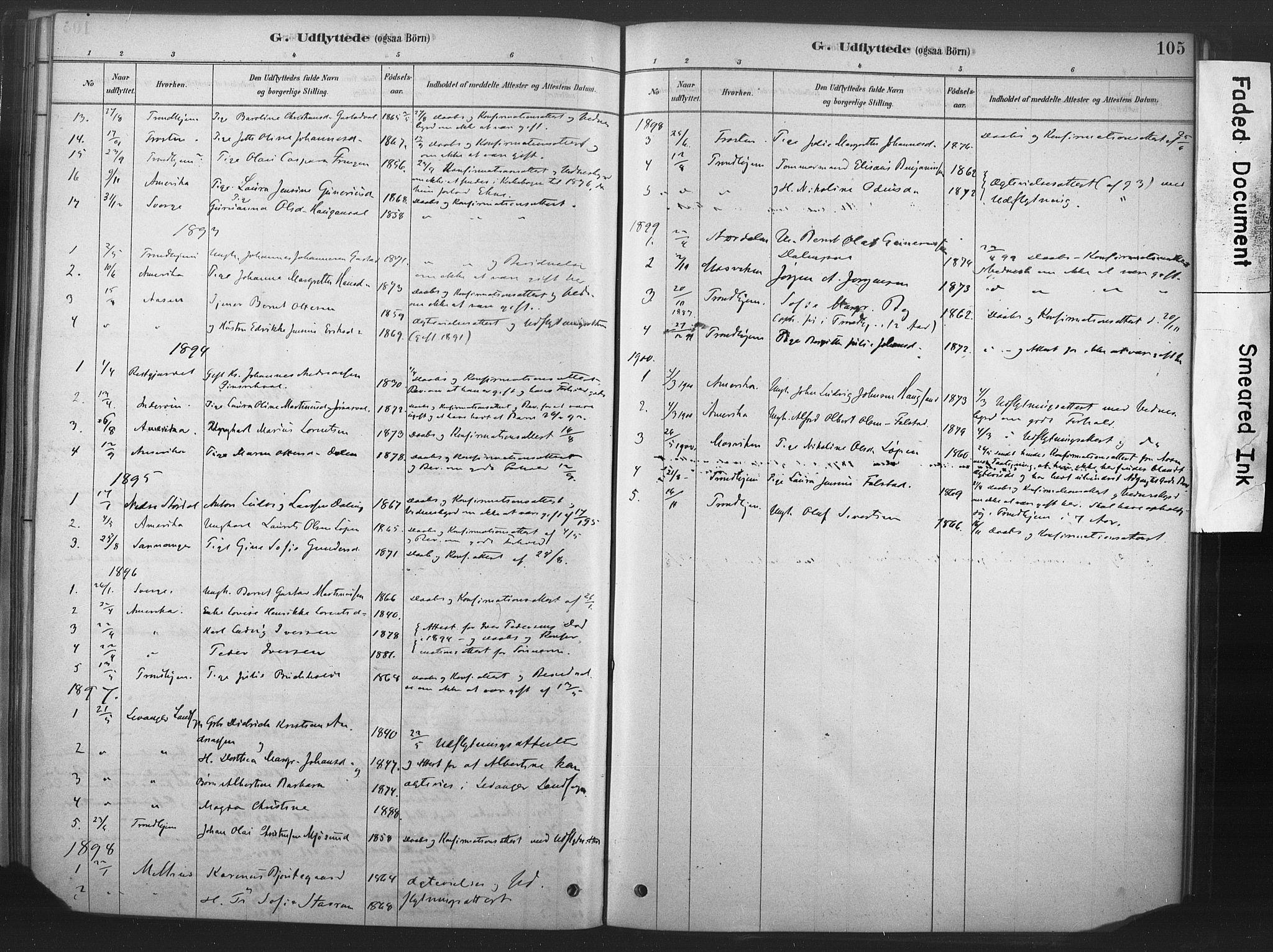 SAT, Ministerialprotokoller, klokkerbøker og fødselsregistre - Nord-Trøndelag, 719/L0178: Ministerialbok nr. 719A01, 1878-1900, s. 105
