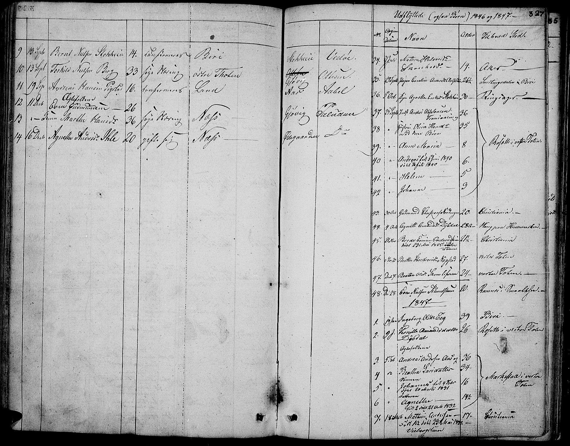 SAH, Vardal prestekontor, H/Ha/Hab/L0004: Klokkerbok nr. 4, 1831-1853, s. 327