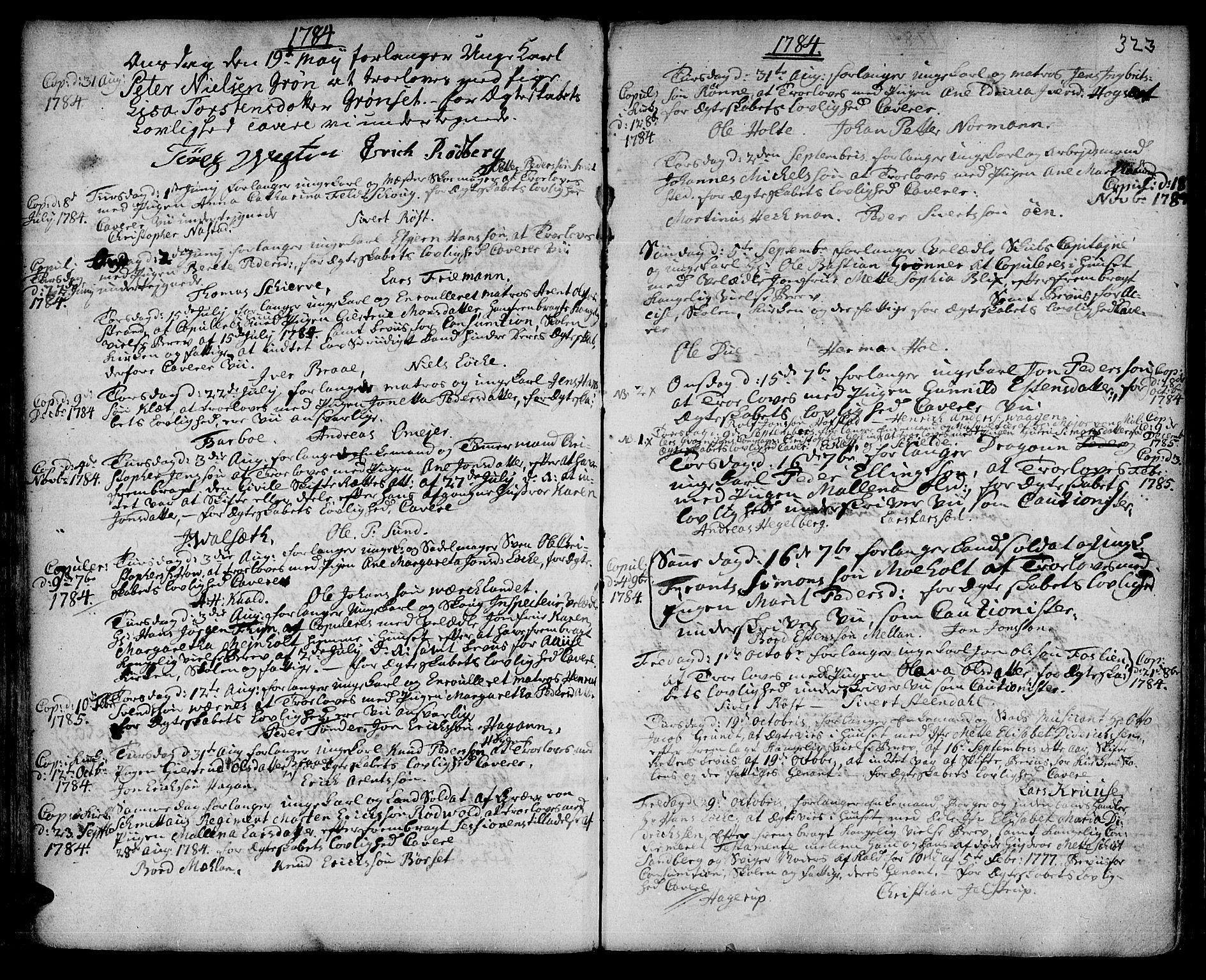 SAT, Ministerialprotokoller, klokkerbøker og fødselsregistre - Sør-Trøndelag, 601/L0038: Ministerialbok nr. 601A06, 1766-1877, s. 323