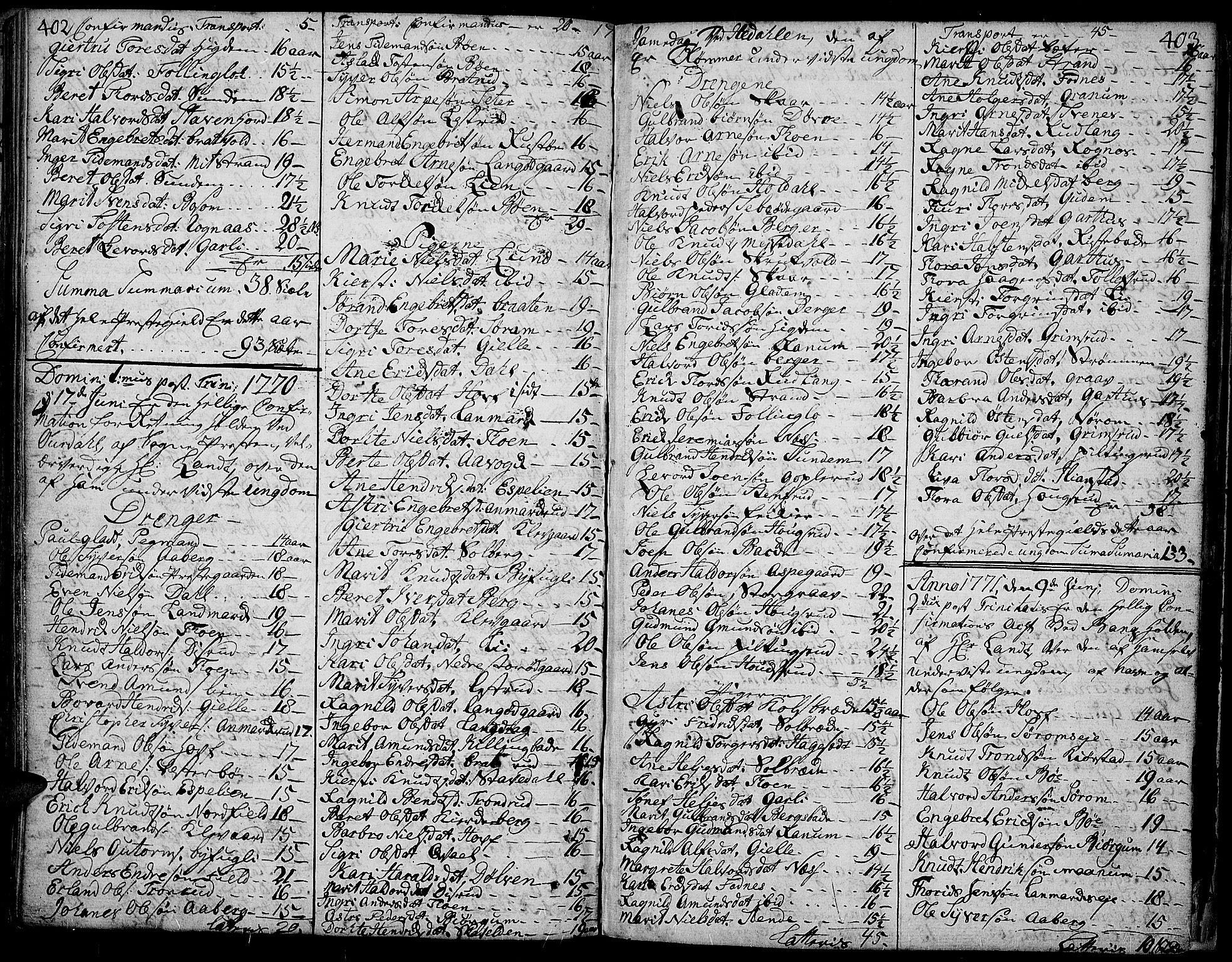 SAH, Aurdal prestekontor, Ministerialbok nr. 5, 1763-1781, s. 402-403