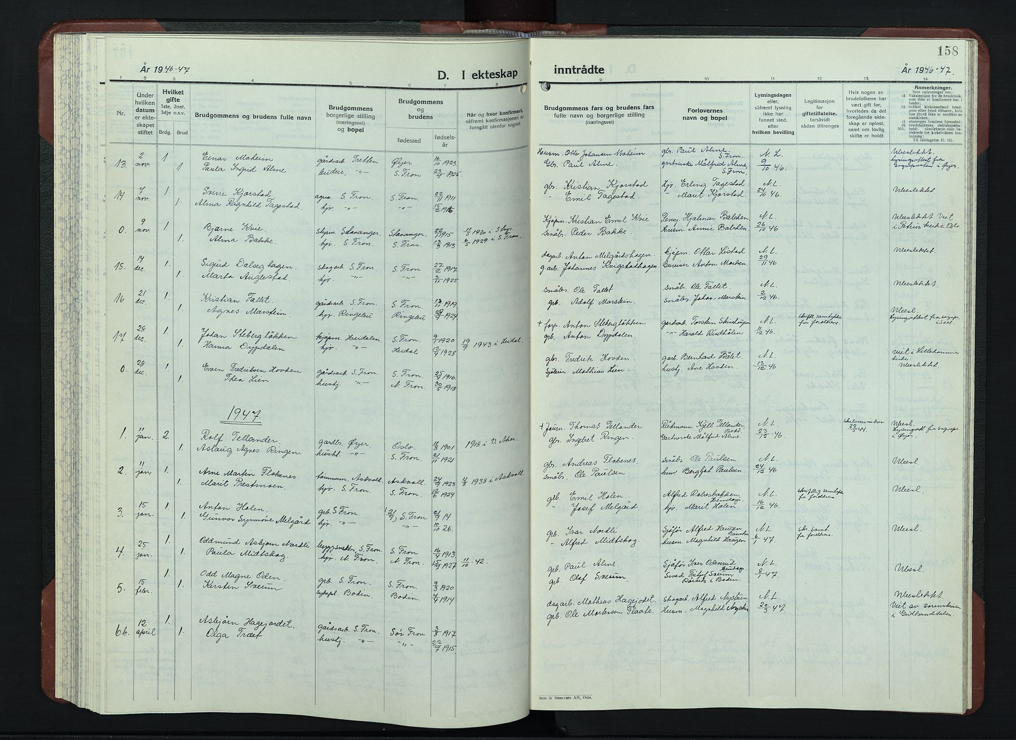 SAH, Sør-Fron prestekontor, H/Ha/Hab/L0006: Klokkerbok nr. 6, 1933-1948, s. 158