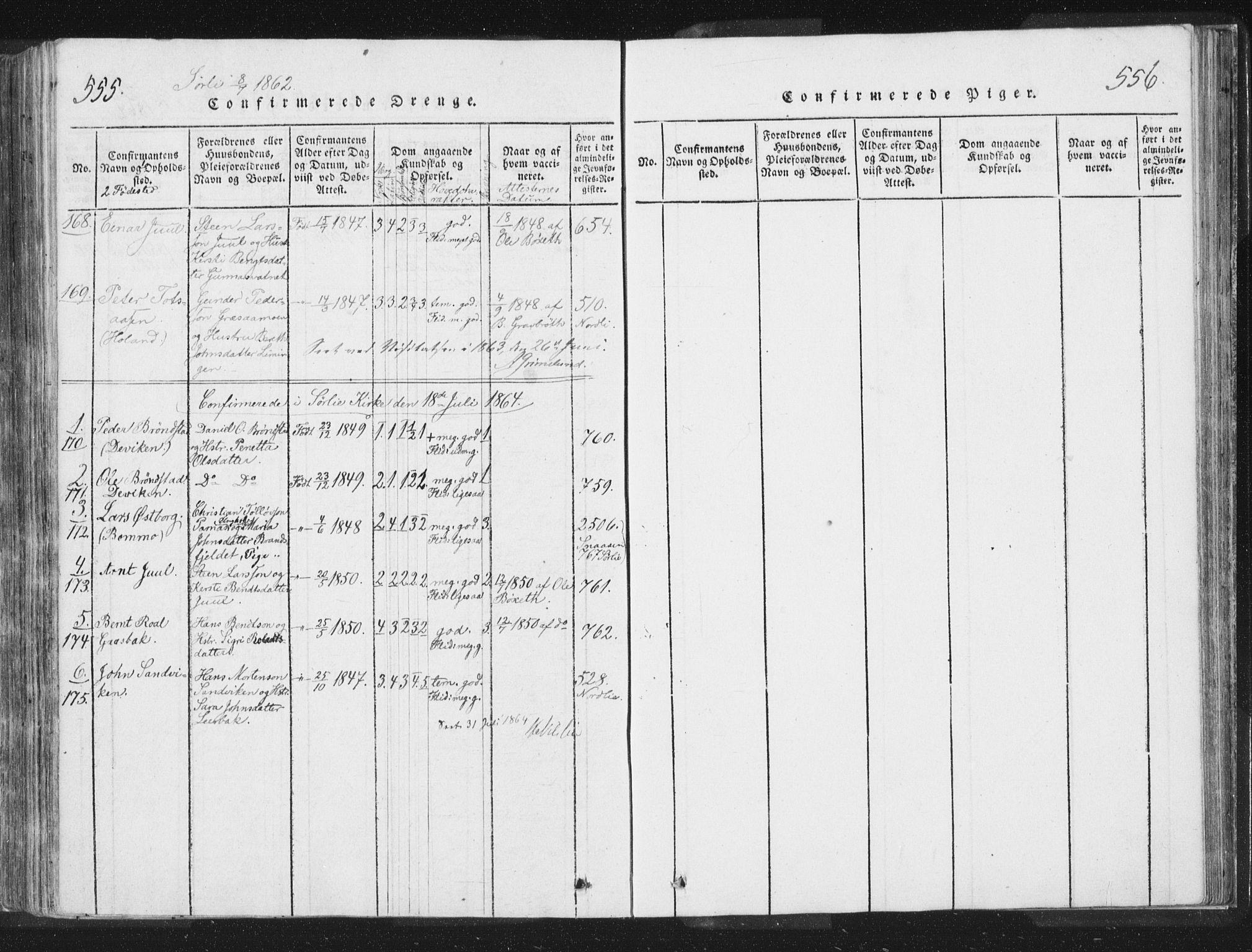 SAT, Ministerialprotokoller, klokkerbøker og fødselsregistre - Nord-Trøndelag, 755/L0491: Ministerialbok nr. 755A01 /2, 1817-1864, s. 555-556