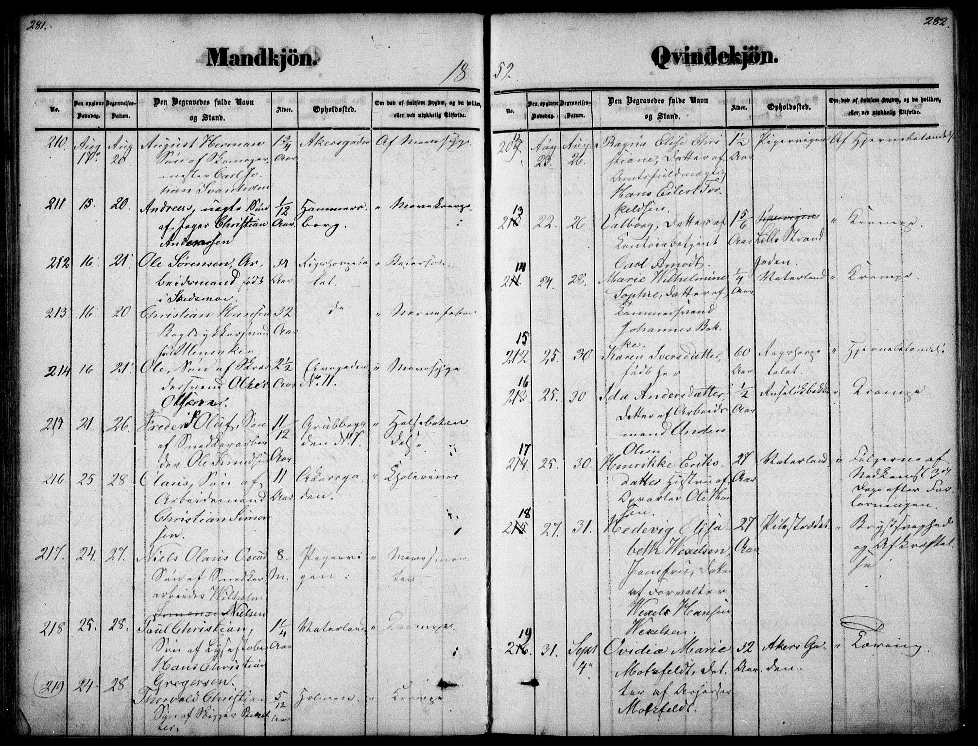 SAO, Oslo domkirke Kirkebøker, F/Fa/L0025: Ministerialbok nr. 25, 1847-1867, s. 281-282