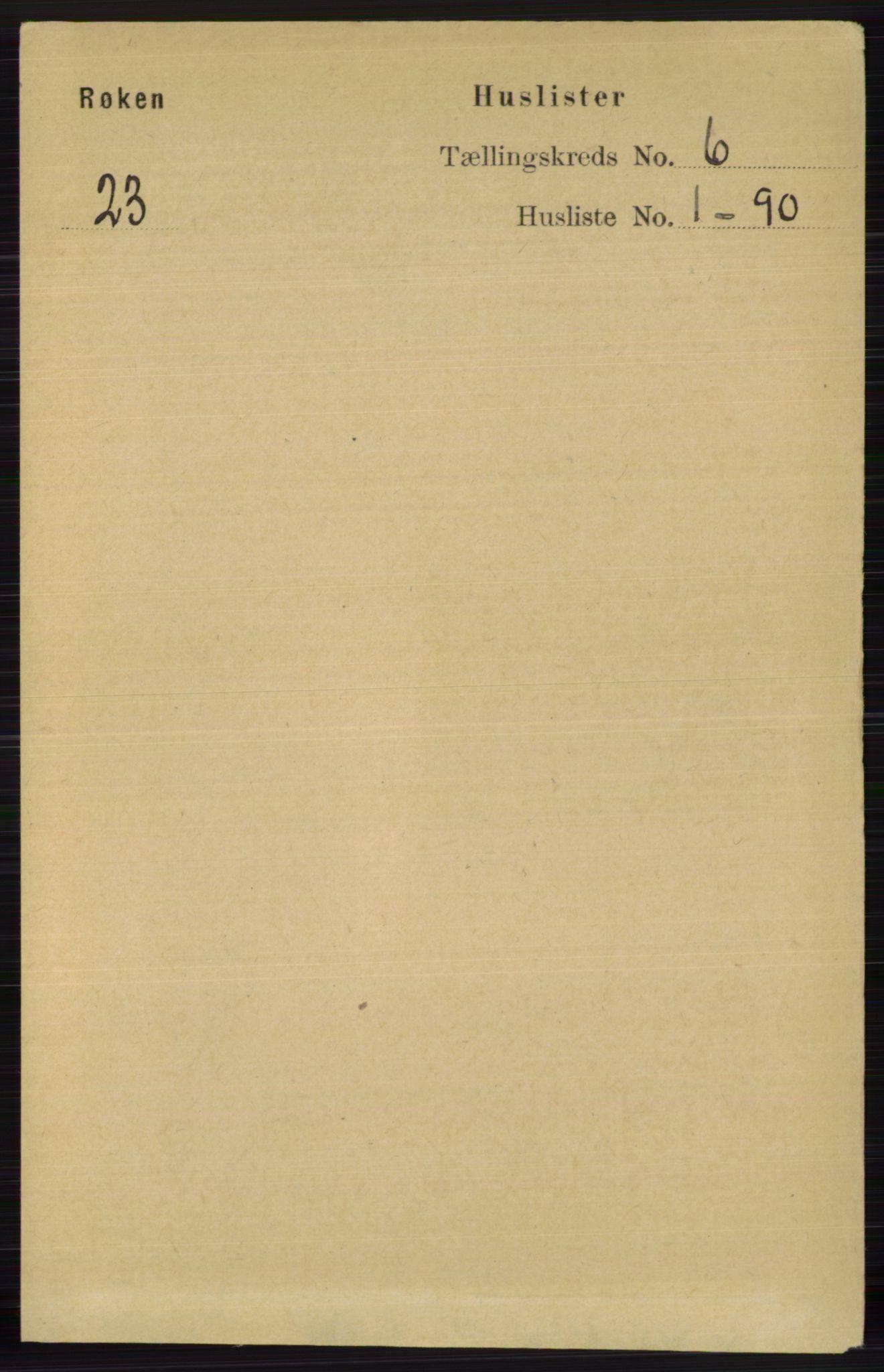RA, Folketelling 1891 for 0627 Røyken herred, 1891, s. 3540