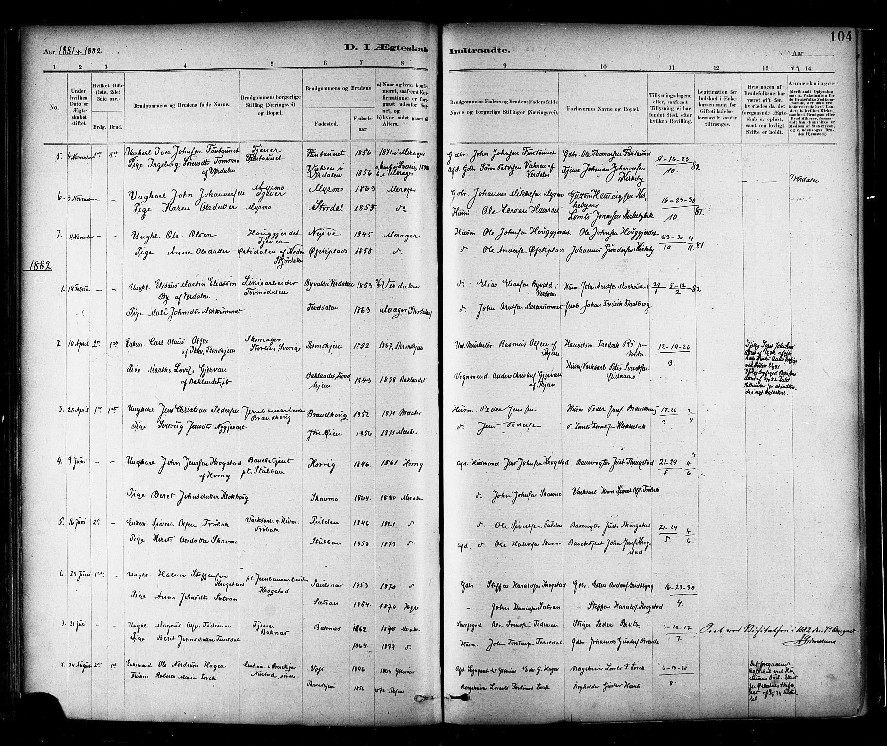SAT, Ministerialprotokoller, klokkerbøker og fødselsregistre - Nord-Trøndelag, 706/L0047: Ministerialbok nr. 706A03, 1878-1892, s. 104