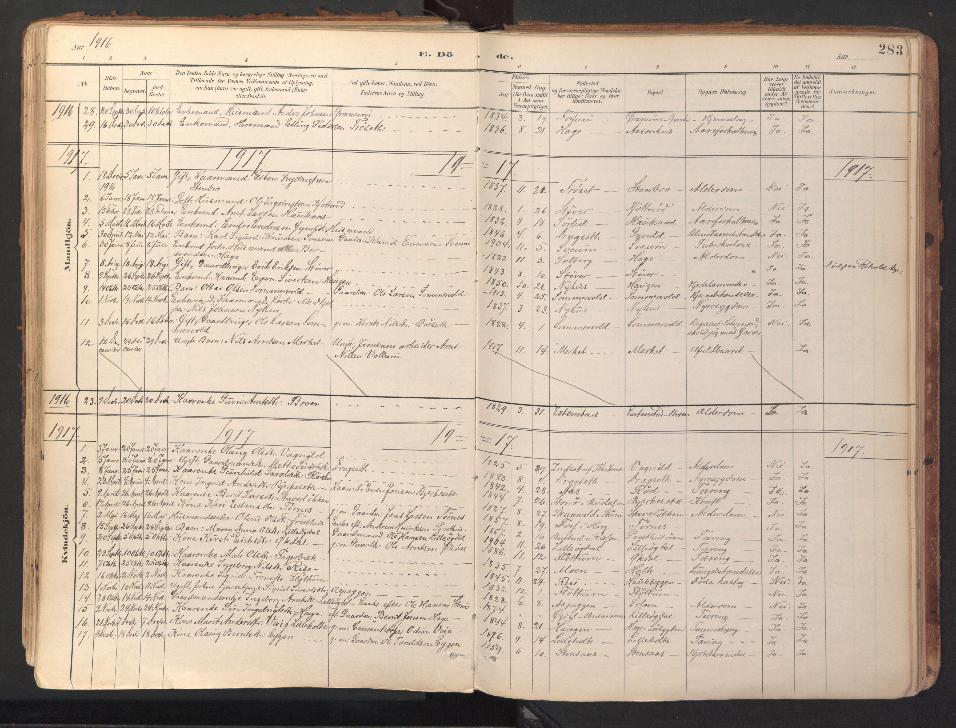 SAT, Ministerialprotokoller, klokkerbøker og fødselsregistre - Sør-Trøndelag, 689/L1041: Ministerialbok nr. 689A06, 1891-1923, s. 283