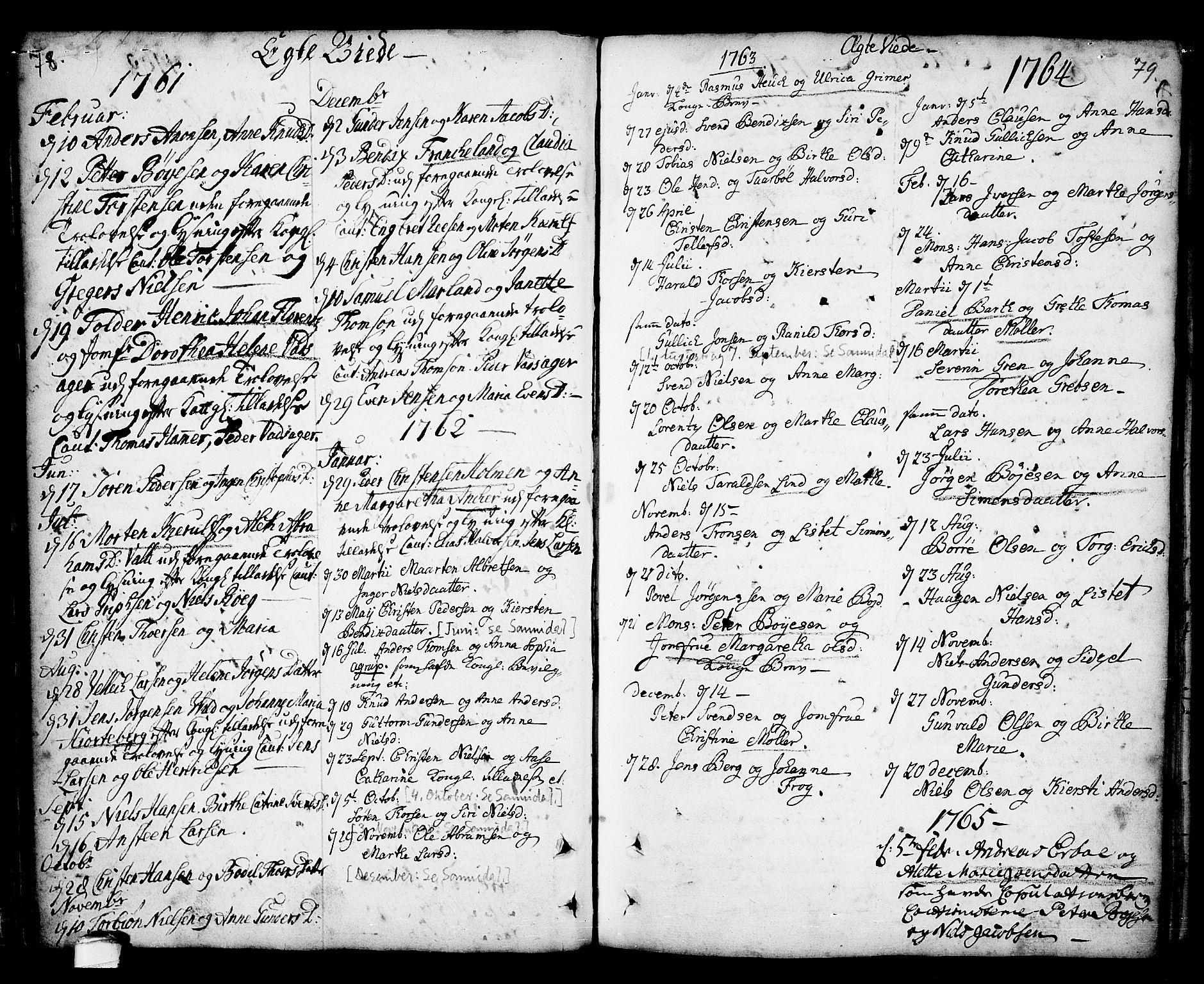SAKO, Kragerø kirkebøker, F/Fa/L0001: Ministerialbok nr. 1, 1702-1766, s. 78-79