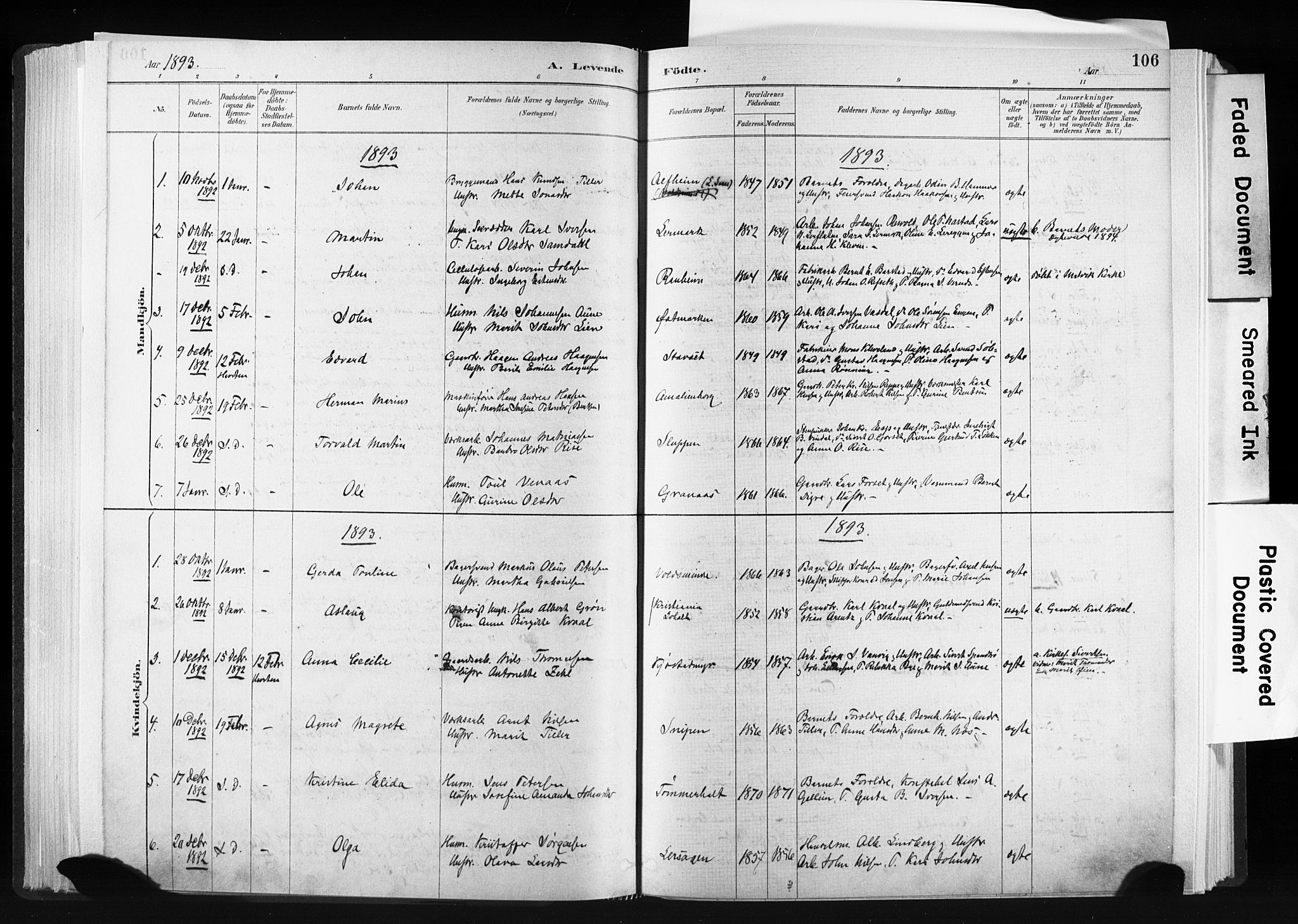 SAT, Ministerialprotokoller, klokkerbøker og fødselsregistre - Sør-Trøndelag, 606/L0300: Ministerialbok nr. 606A15, 1886-1893, s. 106