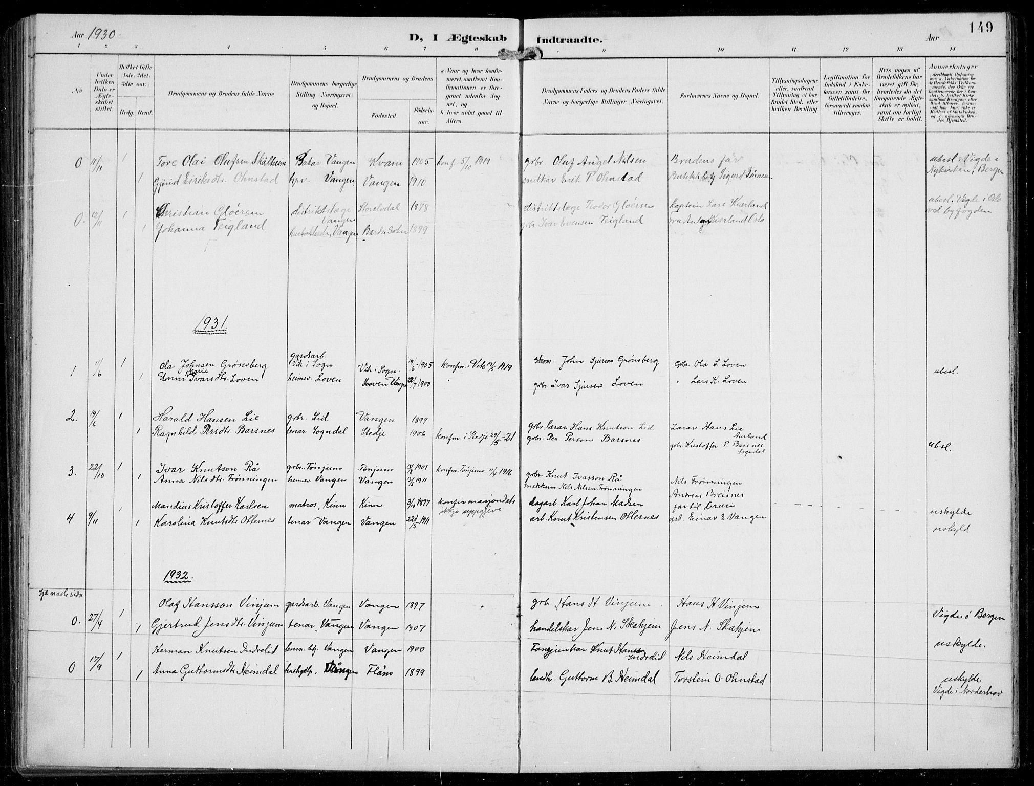 SAB, Aurland sokneprestembete, H/Hb/Hba/L0003: Klokkerbok nr. A 3, 1896-1939, s. 149