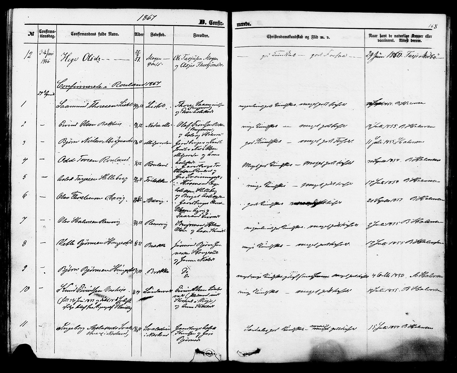 SAKO, Rauland kirkebøker, F/Fa/L0003: Ministerialbok nr. 3, 1859-1886, s. 168