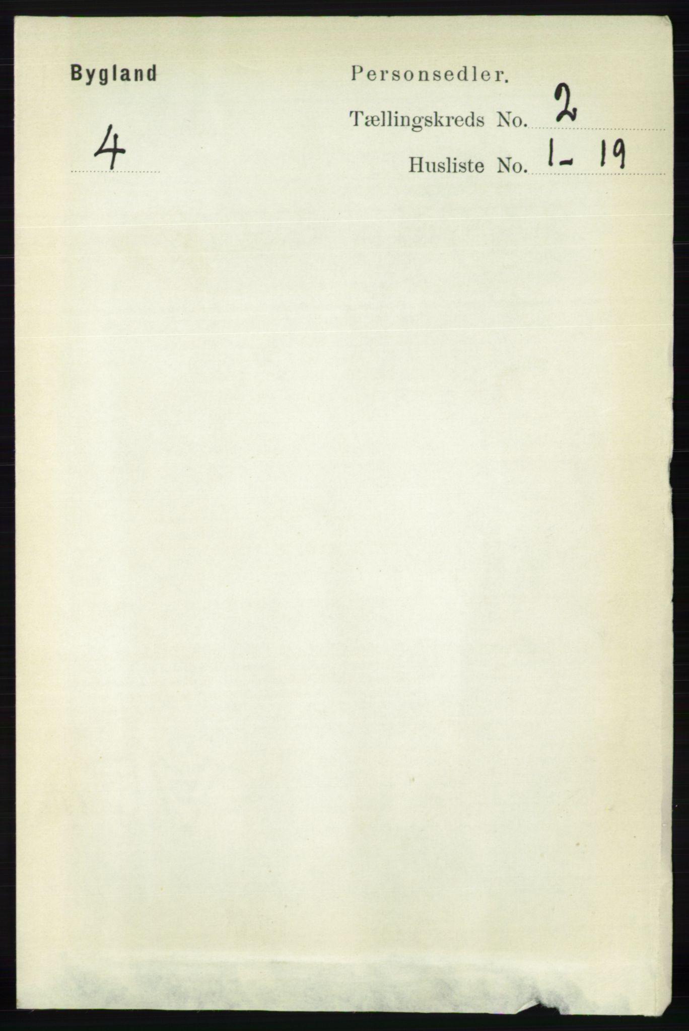 RA, Folketelling 1891 for 0938 Bygland herred, 1891, s. 254