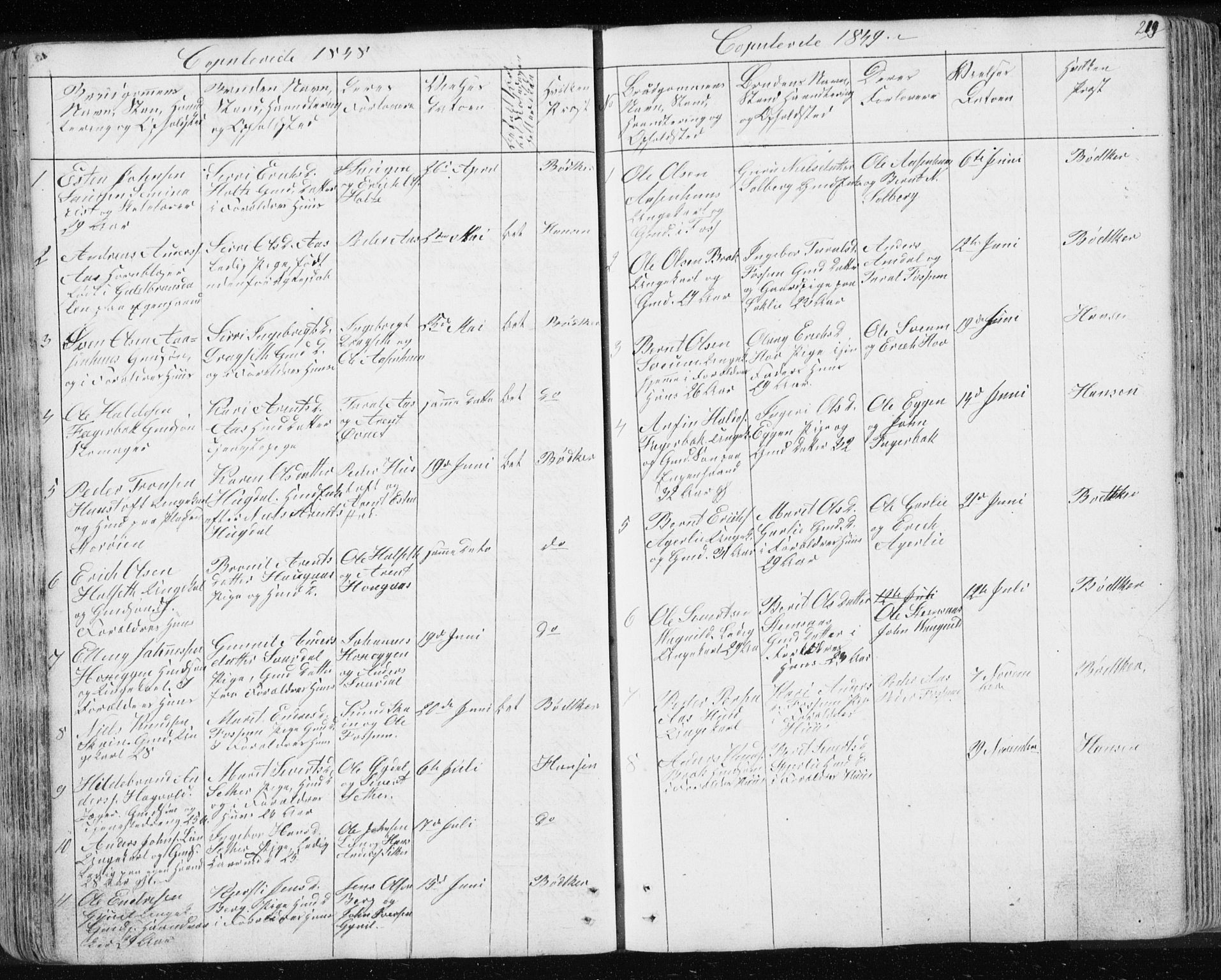 SAT, Ministerialprotokoller, klokkerbøker og fødselsregistre - Sør-Trøndelag, 689/L1043: Klokkerbok nr. 689C02, 1816-1892, s. 219