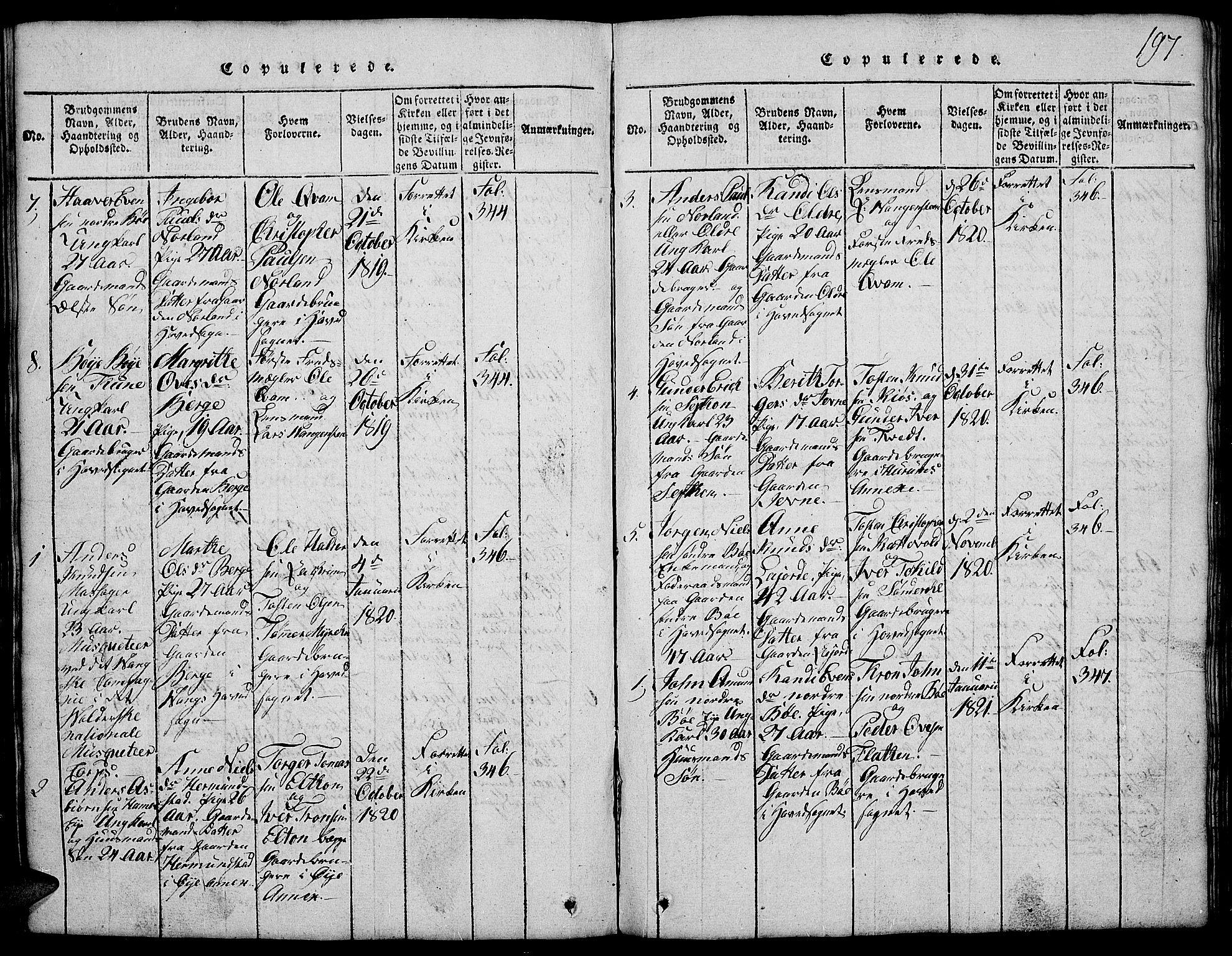 SAH, Vang prestekontor, Valdres, Klokkerbok nr. 2, 1814-1889, s. 197