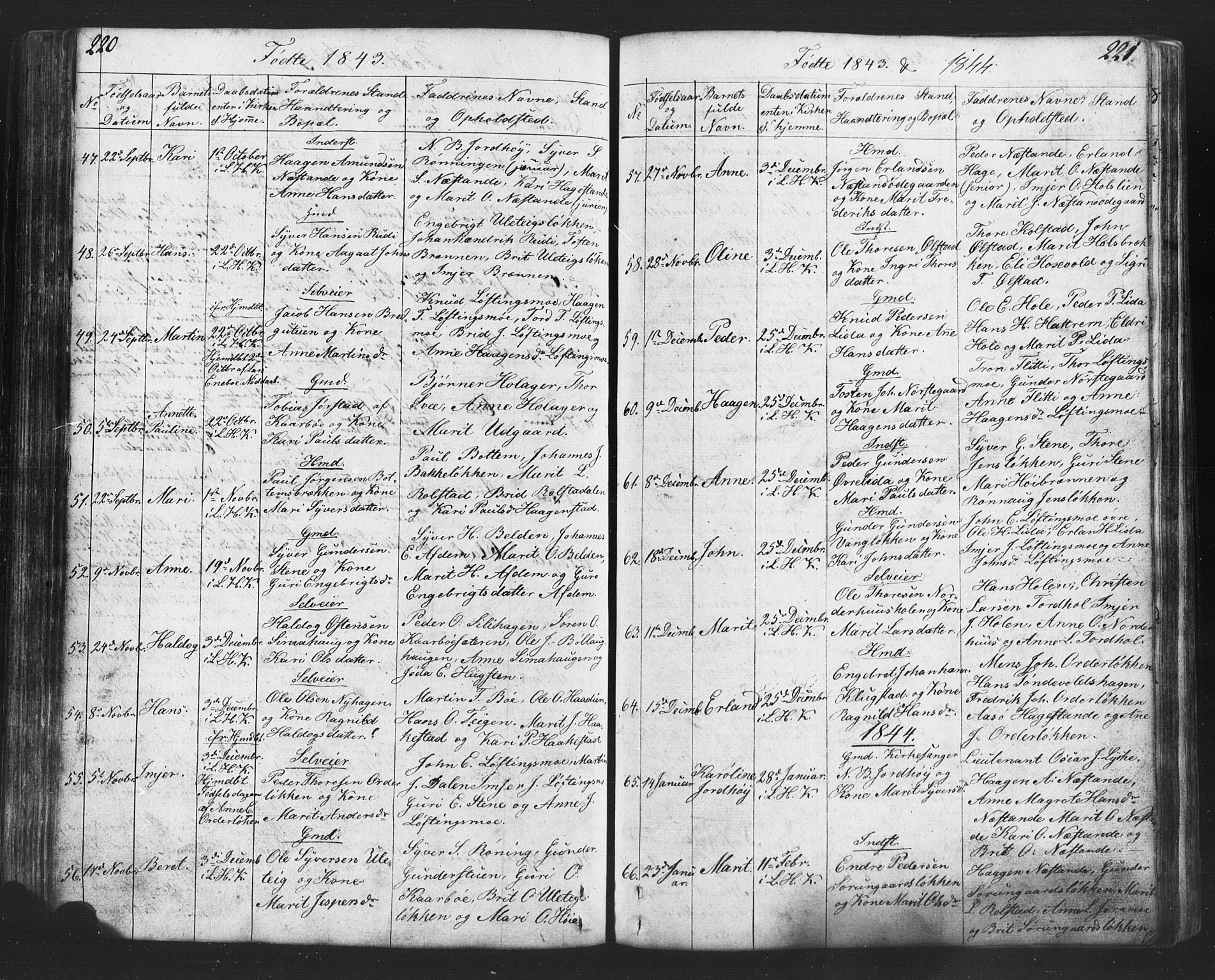 SAH, Lesja prestekontor, Klokkerbok nr. 2, 1832-1850, s. 220-221