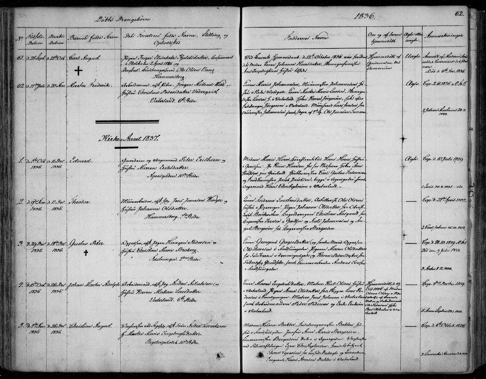 SAO, Garnisonsmenigheten Kirkebøker, F/Fa/L0006: Ministerialbok nr. 6, 1828-1841, s. 62
