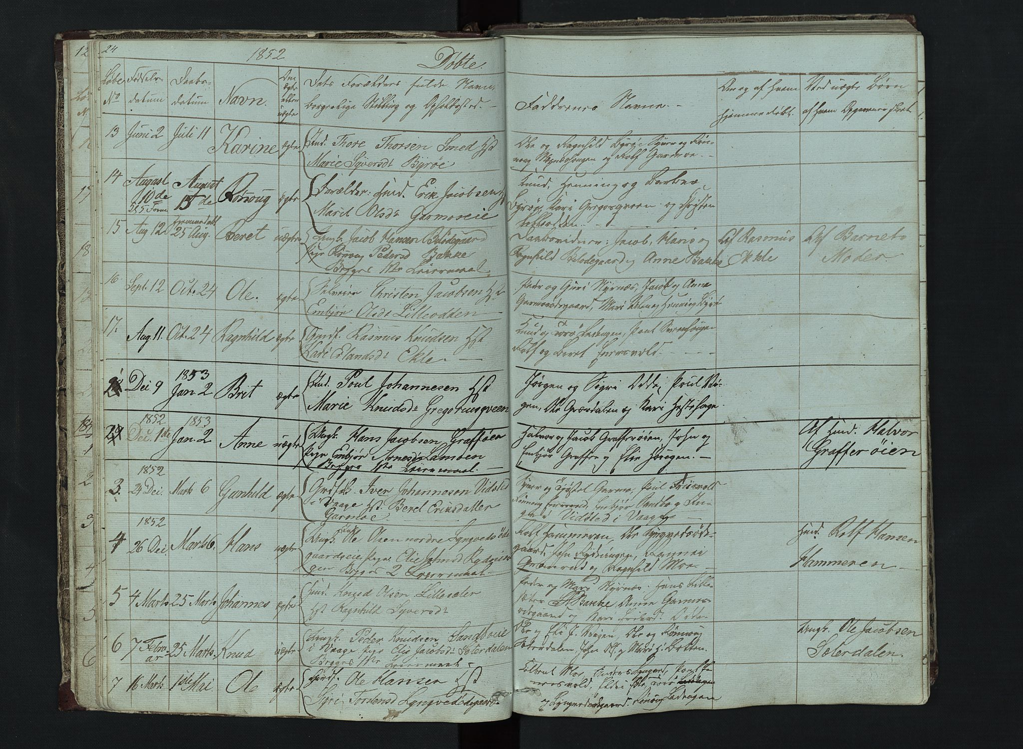 SAH, Lom prestekontor, L/L0014: Klokkerbok nr. 14, 1845-1876, s. 24-25