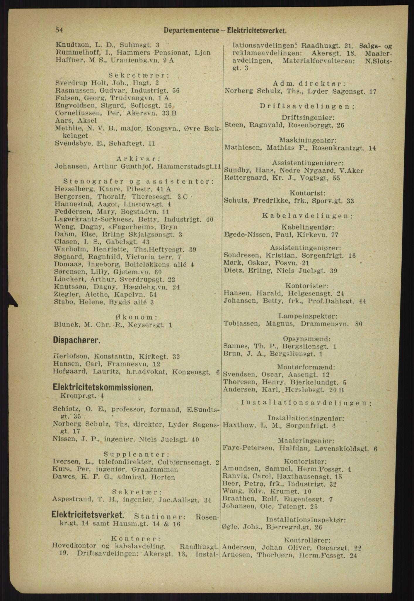 RA, Kristiania adressebok (publikasjon)*, 1918, s. 54