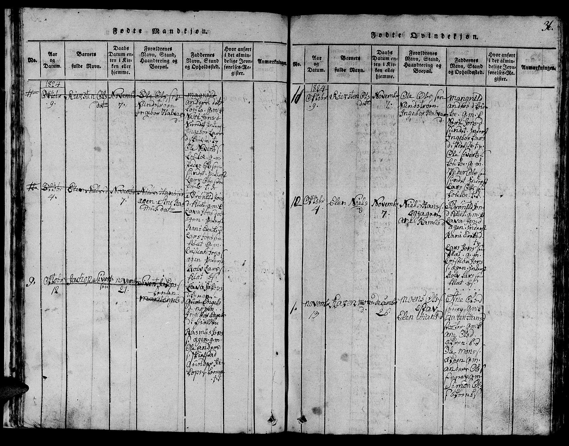 SAT, Ministerialprotokoller, klokkerbøker og fødselsregistre - Sør-Trøndelag, 613/L0393: Klokkerbok nr. 613C01, 1816-1886, s. 36