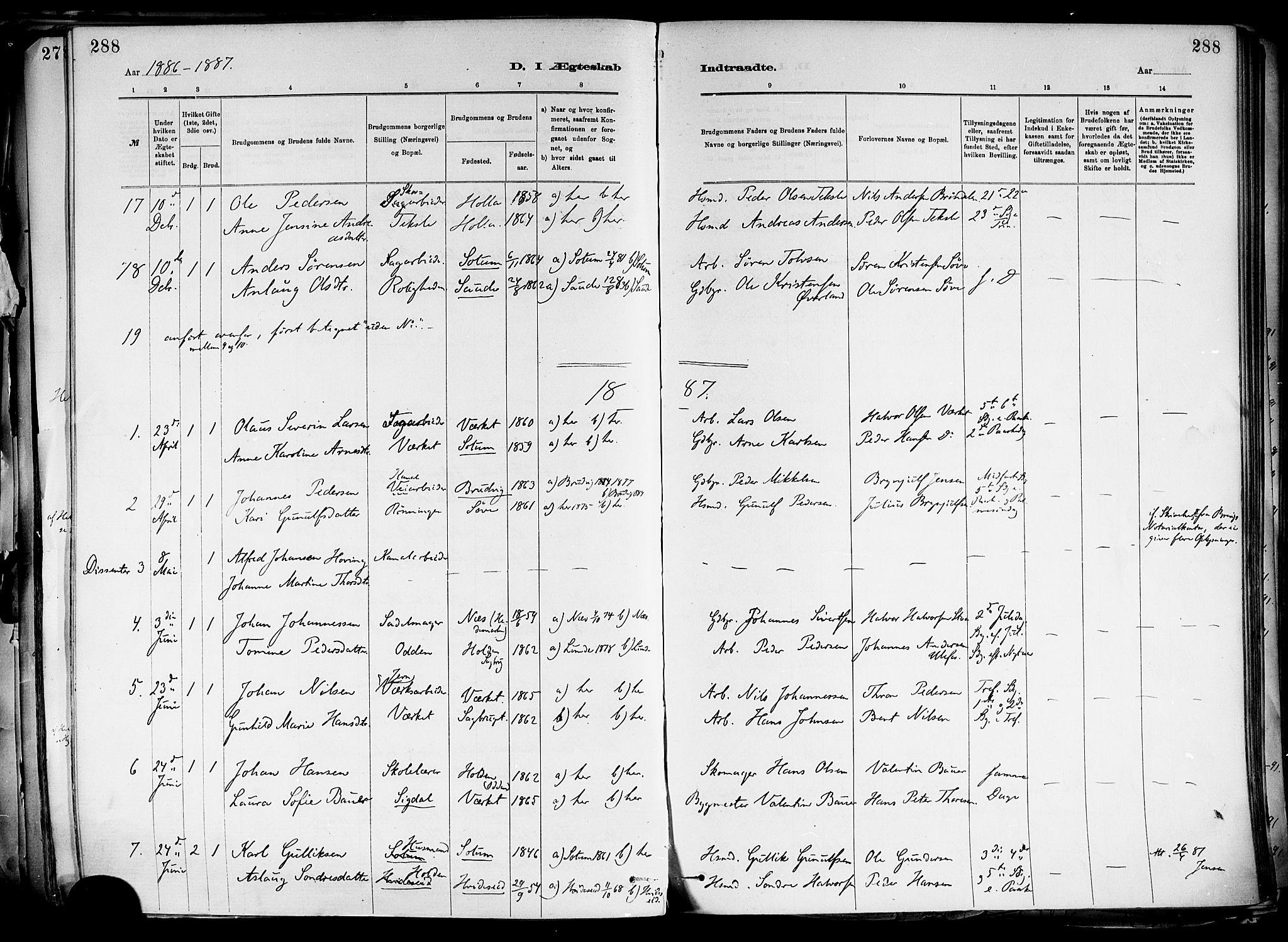 SAKO, Holla kirkebøker, F/Fa/L0008: Ministerialbok nr. 8, 1882-1897, s. 288