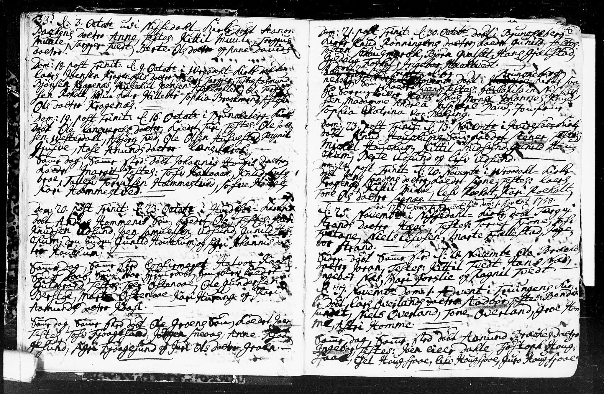 SAKO, Kviteseid kirkebøker, F/Fa/L0001: Ministerialbok nr. I 1, 1754-1773, s. 33-34