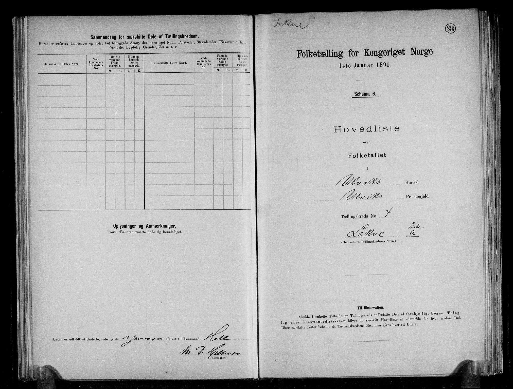 RA, Folketelling 1891 for 1233 Ulvik herred, 1891, s. 13