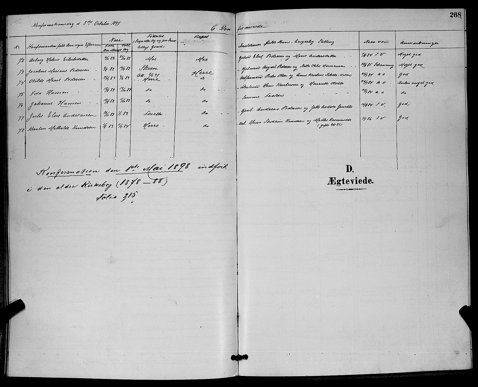 SAKO, Bamble kirkebøker, G/Ga/L0009: Klokkerbok nr. I 9, 1888-1900, s. 268