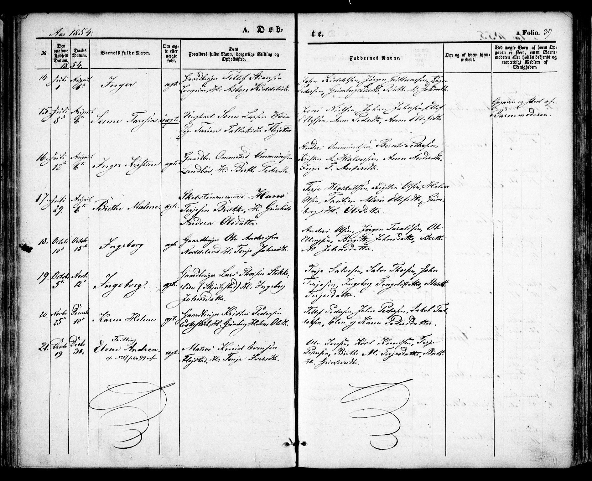 SAK, Austre Moland sokneprestkontor, F/Fa/Faa/L0007: Ministerialbok nr. A 7, 1847-1857, s. 39