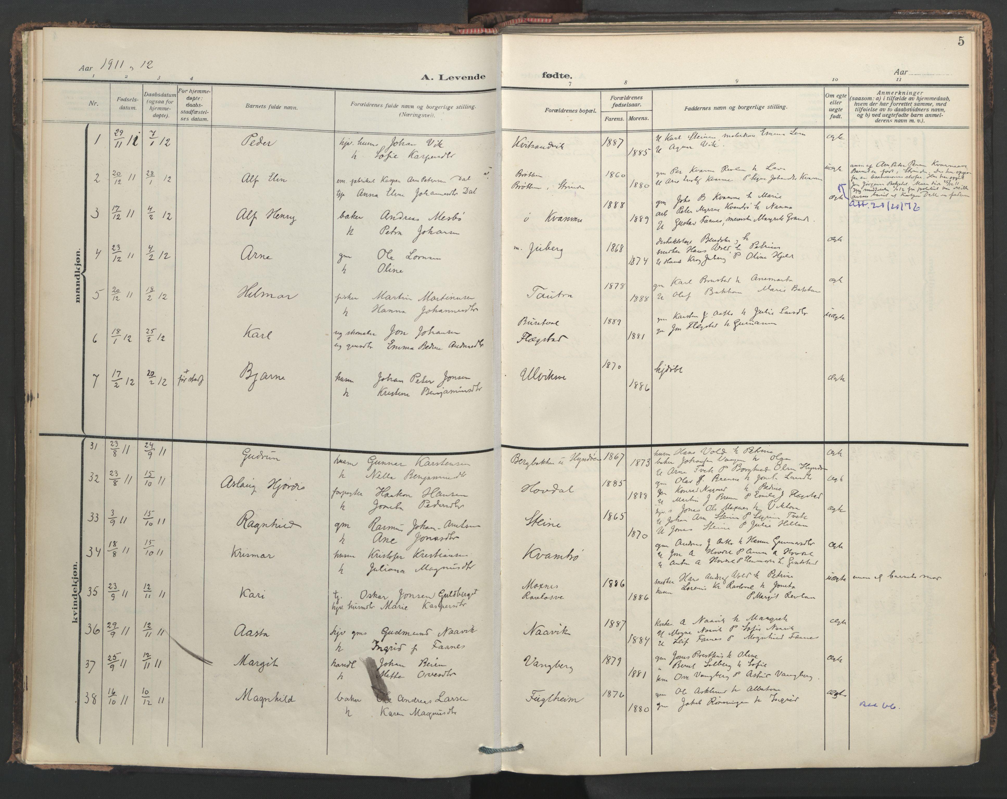 SAT, Ministerialprotokoller, klokkerbøker og fødselsregistre - Nord-Trøndelag, 713/L0123: Ministerialbok nr. 713A12, 1911-1925, s. 5