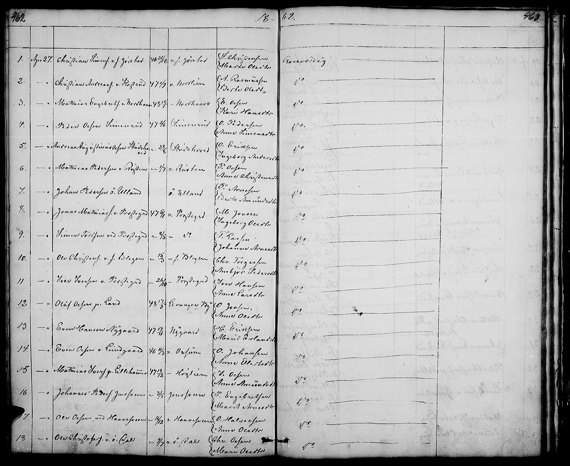 SAH, Fåberg prestekontor, Klokkerbok nr. 5, 1837-1864, s. 462-463