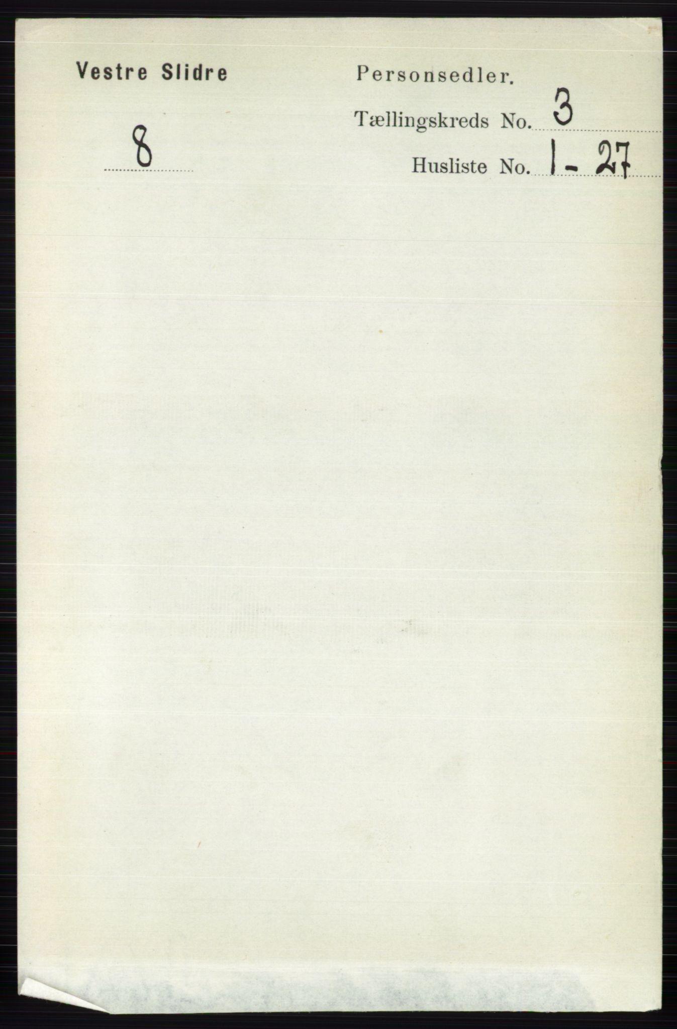 RA, Folketelling 1891 for 0543 Vestre Slidre herred, 1891, s. 821