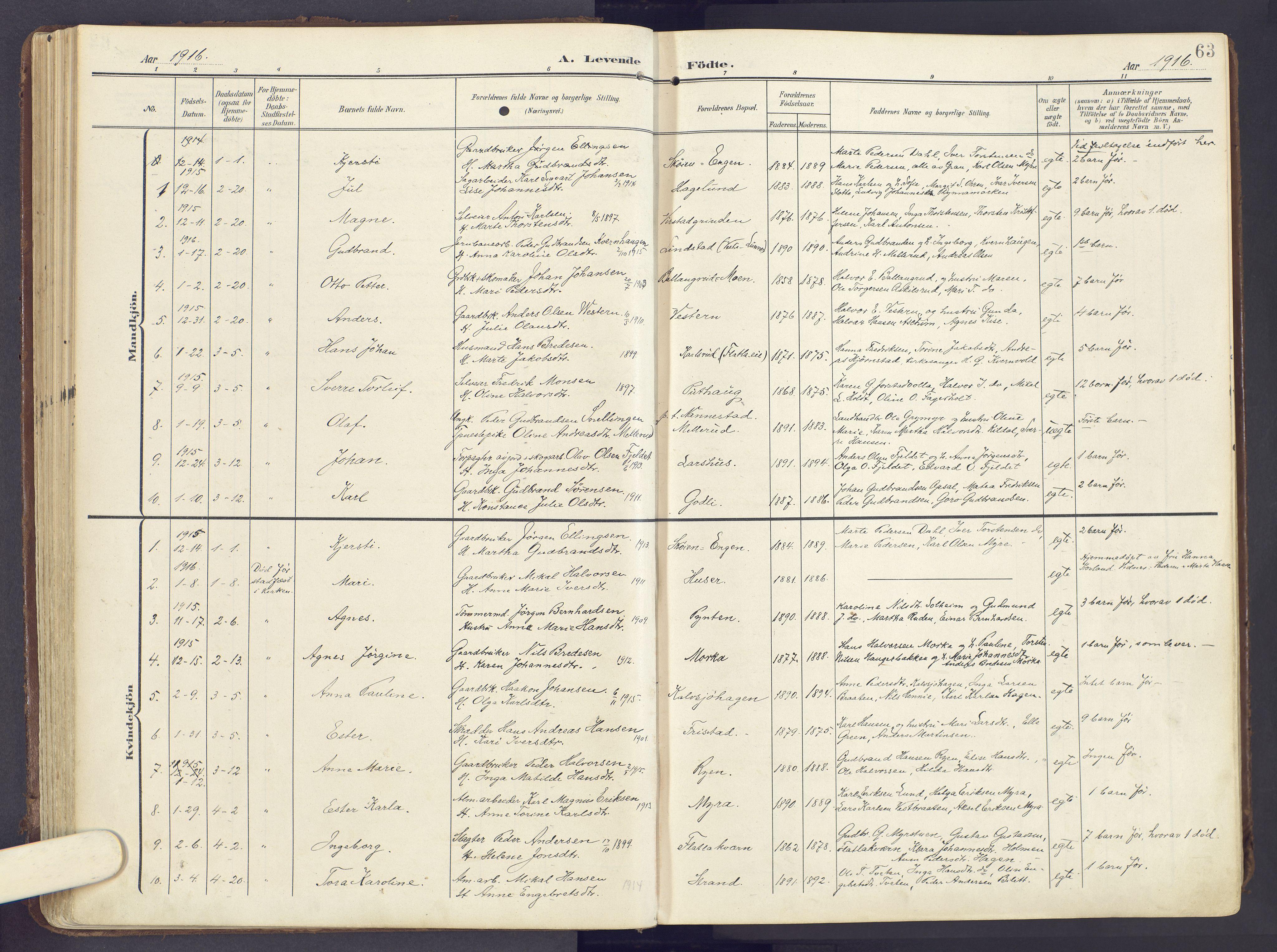 SAH, Lunner prestekontor, H/Ha/Haa/L0001: Ministerialbok nr. 1, 1907-1922, s. 63