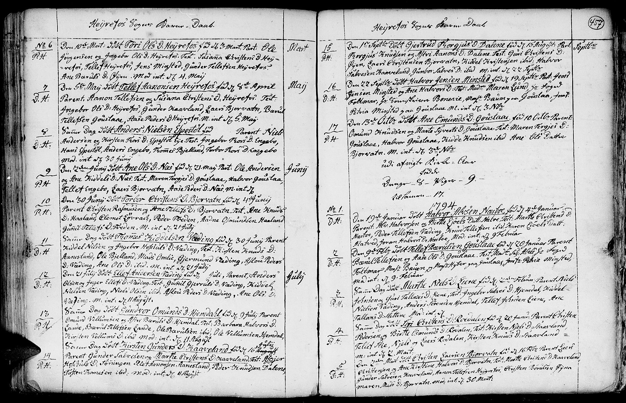 SAK, Hommedal sokneprestkontor, F/Fa/Fab/L0002: Ministerialbok nr. A 2 /3, 1740-1821, s. 457