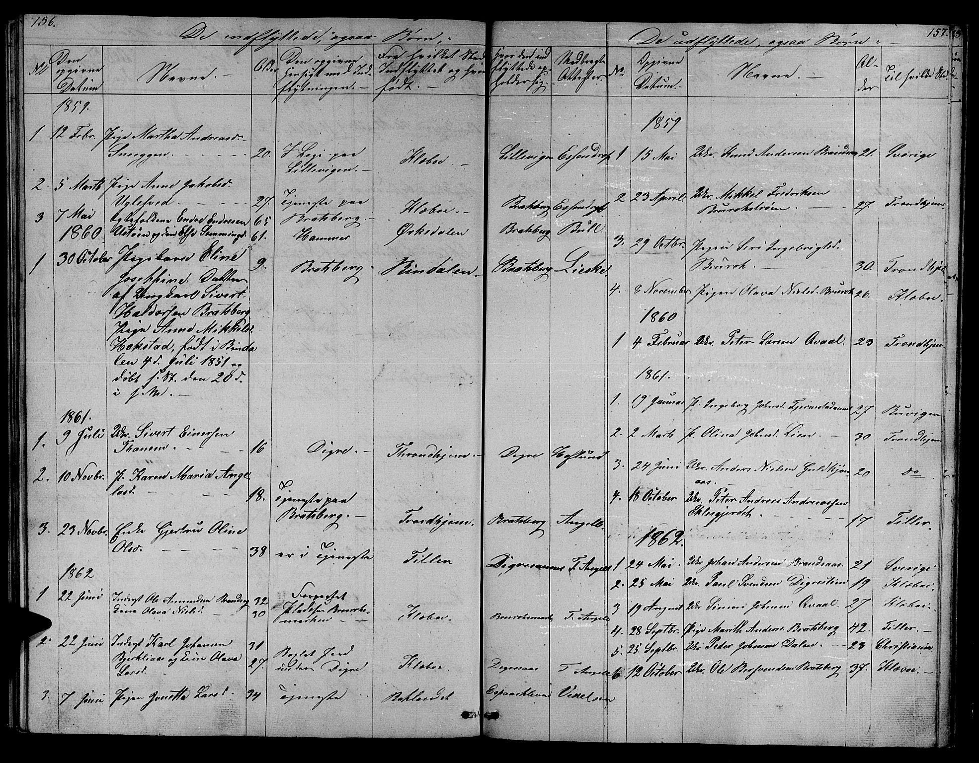 SAT, Ministerialprotokoller, klokkerbøker og fødselsregistre - Sør-Trøndelag, 608/L0339: Klokkerbok nr. 608C05, 1844-1863, s. 156-157