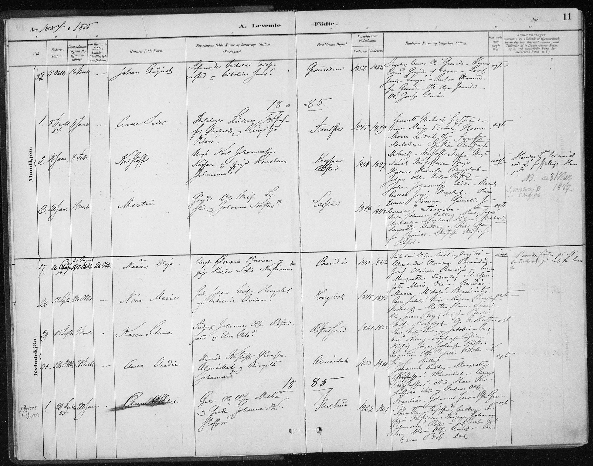SAT, Ministerialprotokoller, klokkerbøker og fødselsregistre - Nord-Trøndelag, 701/L0010: Ministerialbok nr. 701A10, 1883-1899, s. 11