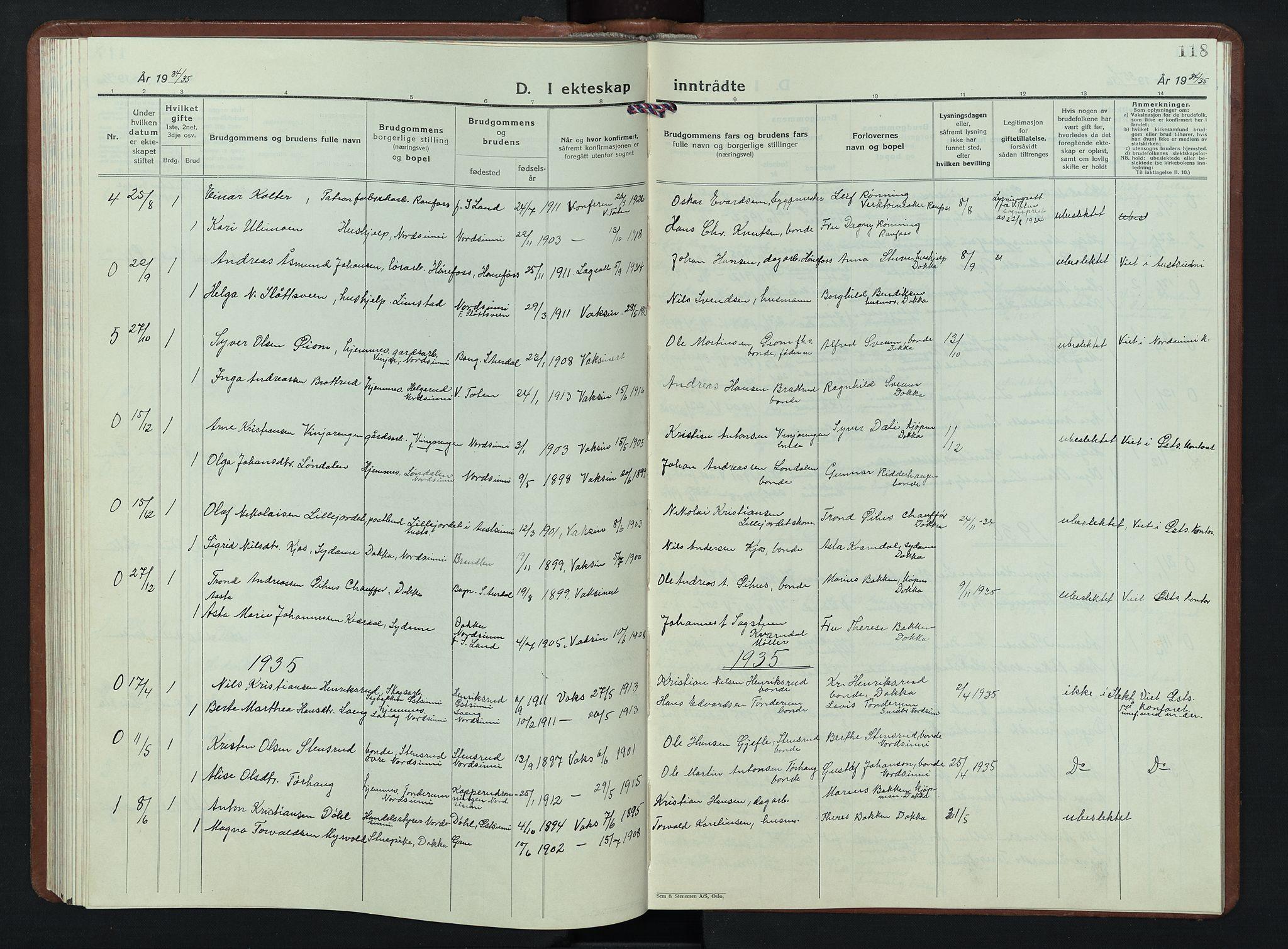 SAH, Nordre Land prestekontor, Klokkerbok nr. 7, 1930-1953, s. 118