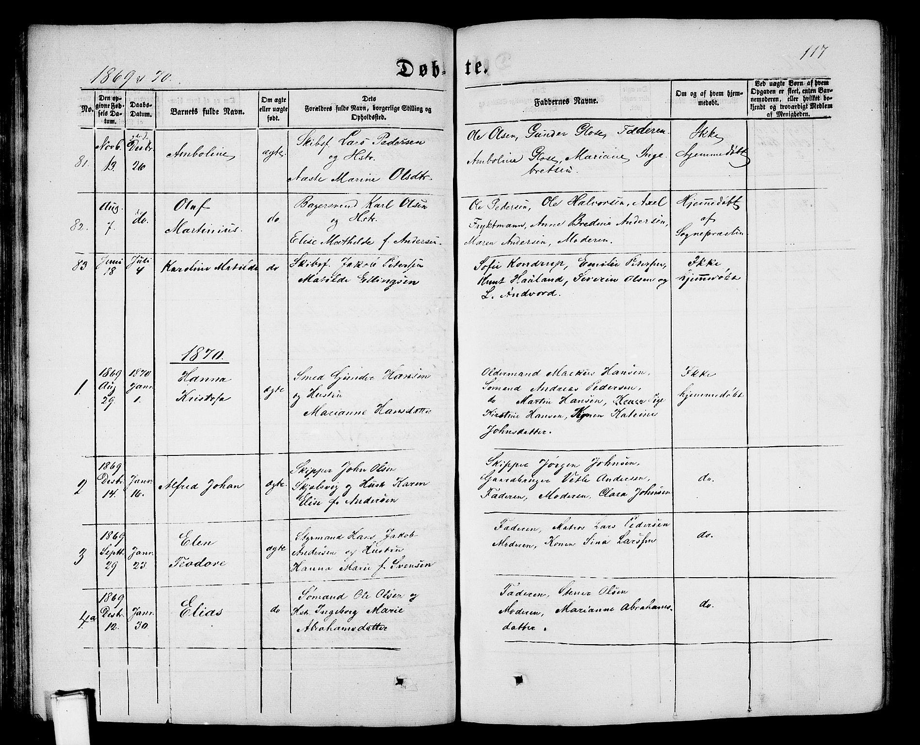 SAKO, Porsgrunn kirkebøker , G/Gb/L0004: Klokkerbok nr. II 4, 1853-1882, s. 117