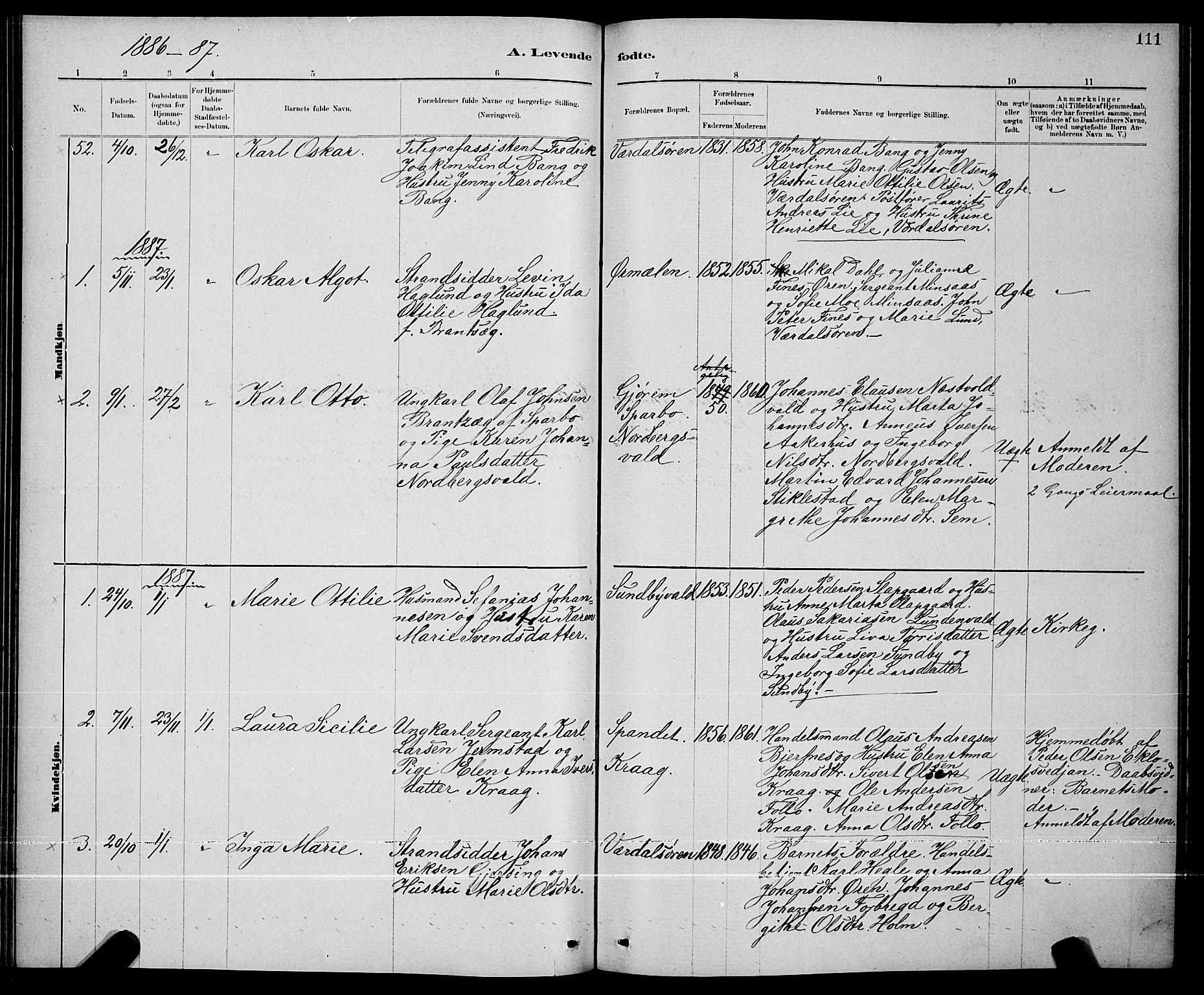 SAT, Ministerialprotokoller, klokkerbøker og fødselsregistre - Nord-Trøndelag, 723/L0256: Klokkerbok nr. 723C04, 1879-1890, s. 111