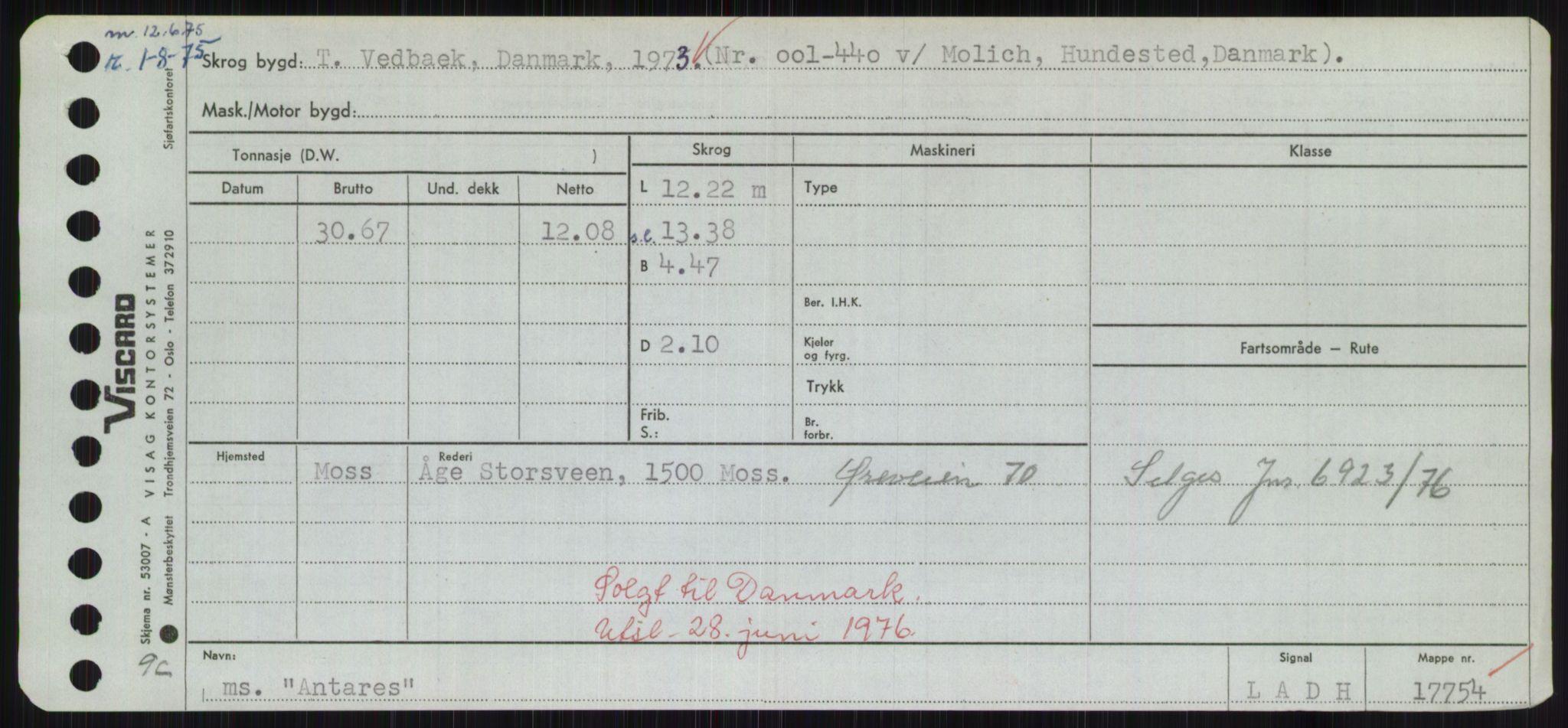 RA, Sjøfartsdirektoratet med forløpere, Skipsmålingen, H/Hd/L0001: Fartøy, A-Anv, s. 783