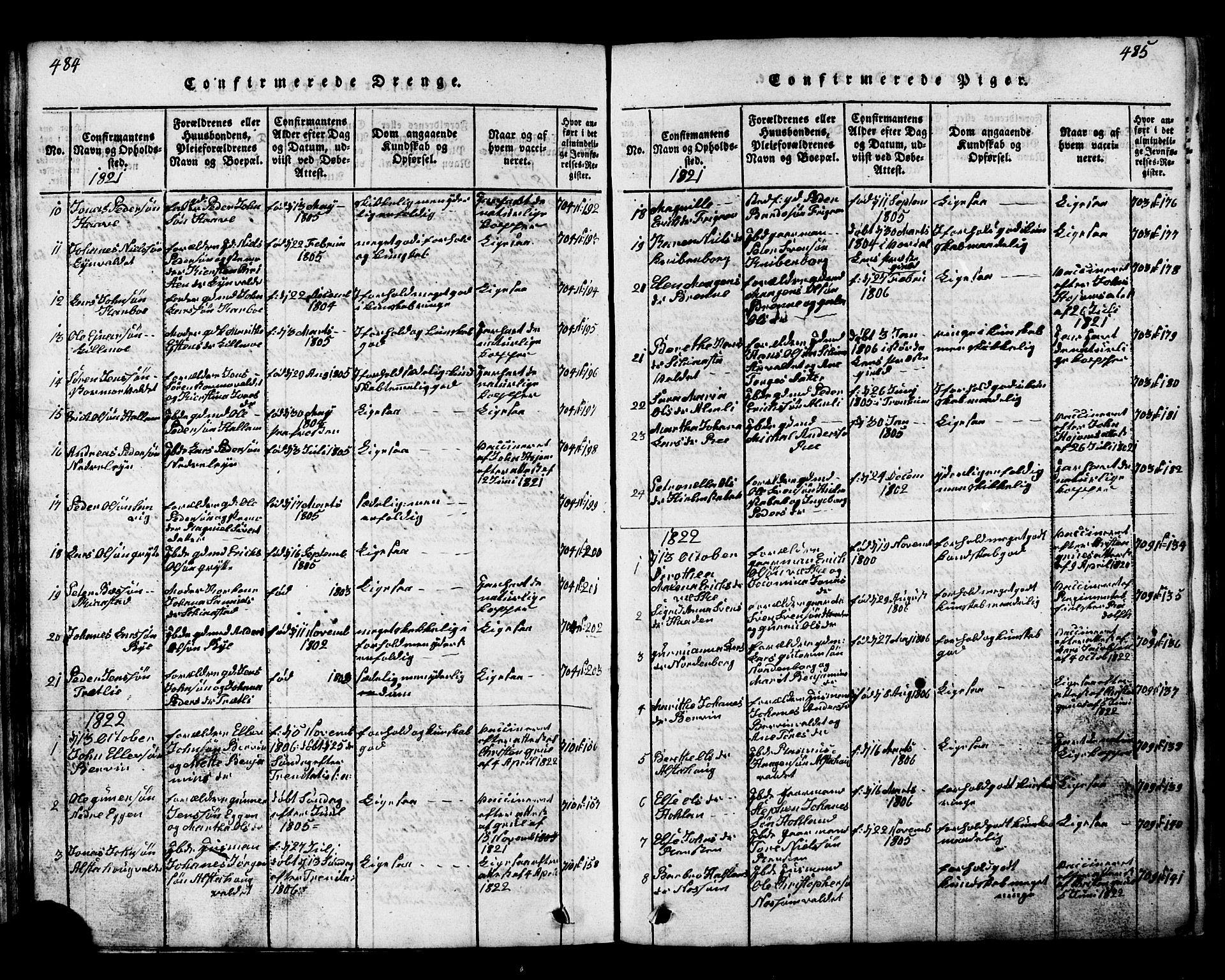 SAT, Ministerialprotokoller, klokkerbøker og fødselsregistre - Nord-Trøndelag, 717/L0169: Klokkerbok nr. 717C01, 1816-1834, s. 484-485