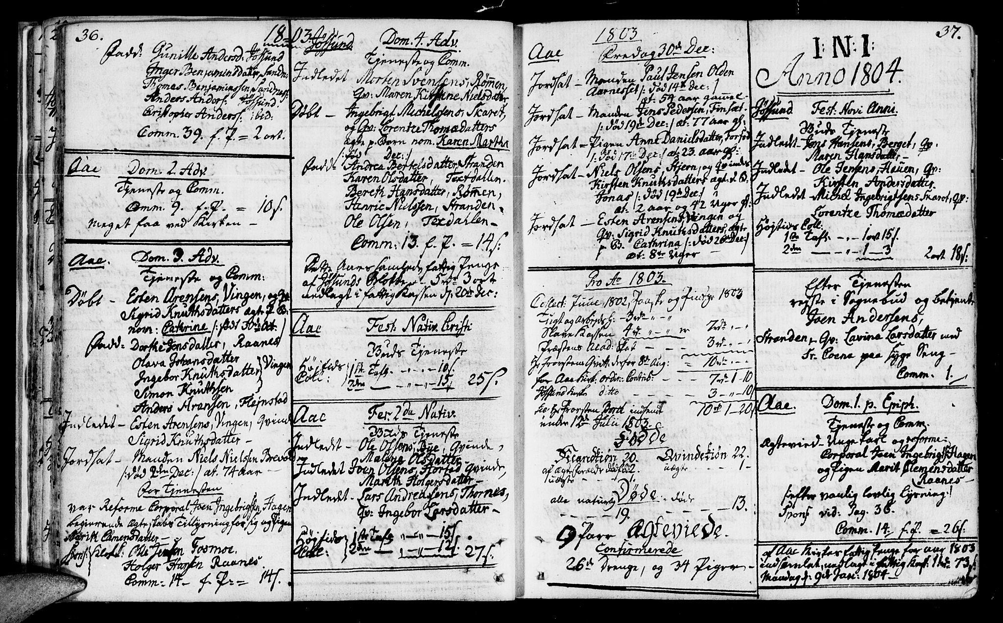 SAT, Ministerialprotokoller, klokkerbøker og fødselsregistre - Sør-Trøndelag, 655/L0674: Ministerialbok nr. 655A03, 1802-1826, s. 36-37
