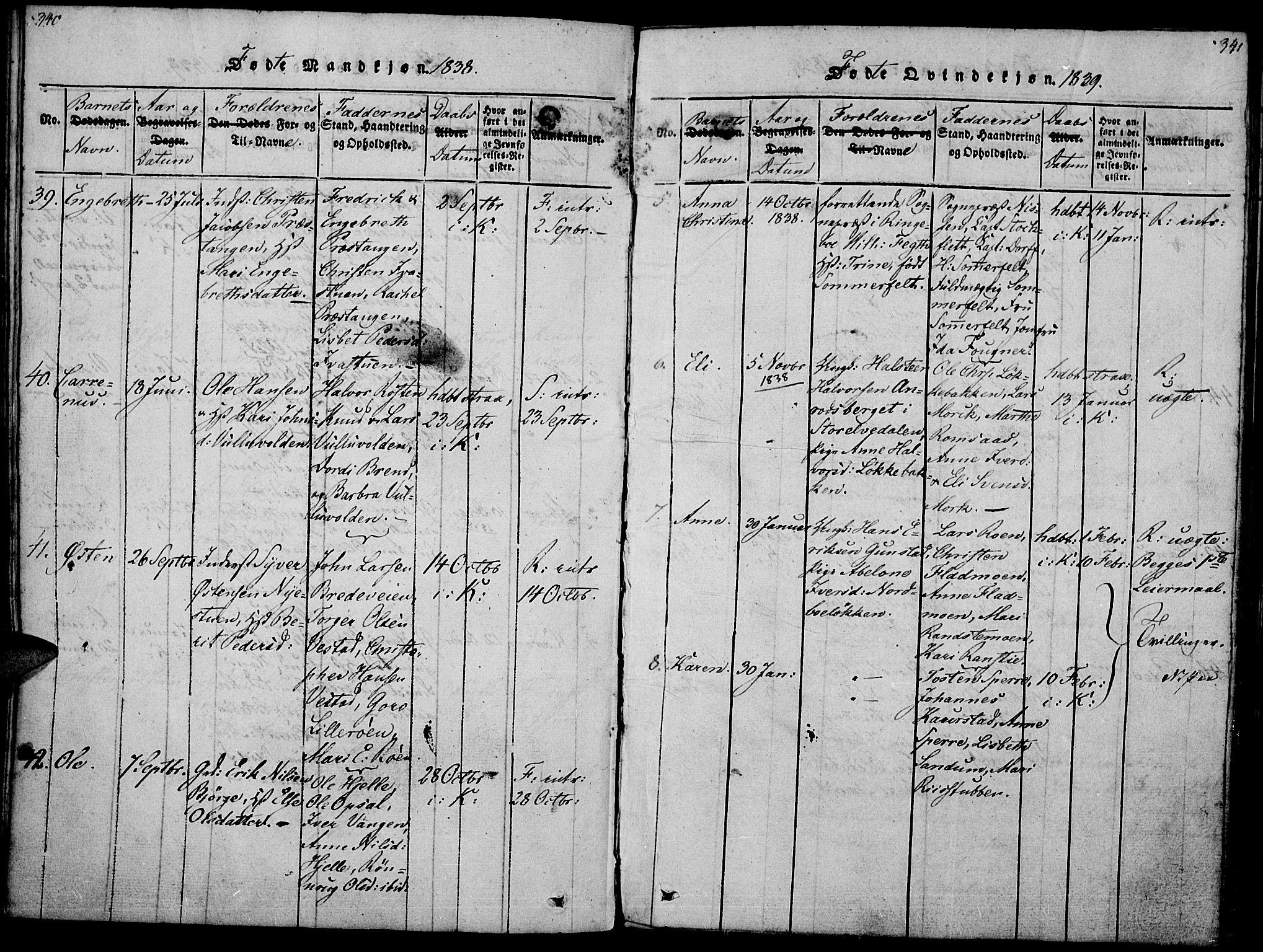 SAH, Ringebu prestekontor, Ministerialbok nr. 4, 1821-1839, s. 340-341